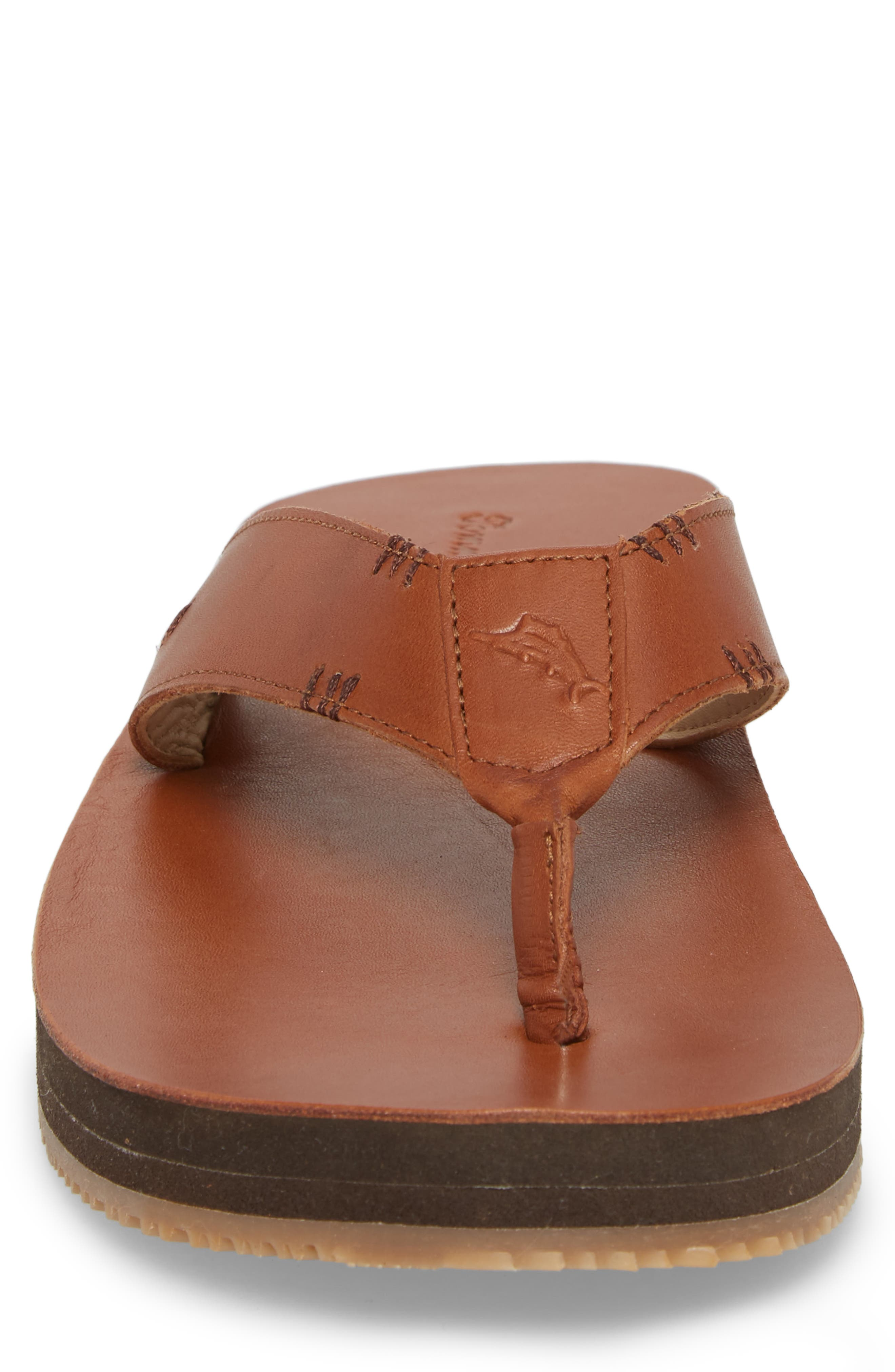 Adderly Flip Flop,                             Alternate thumbnail 4, color,                             Tan Leather
