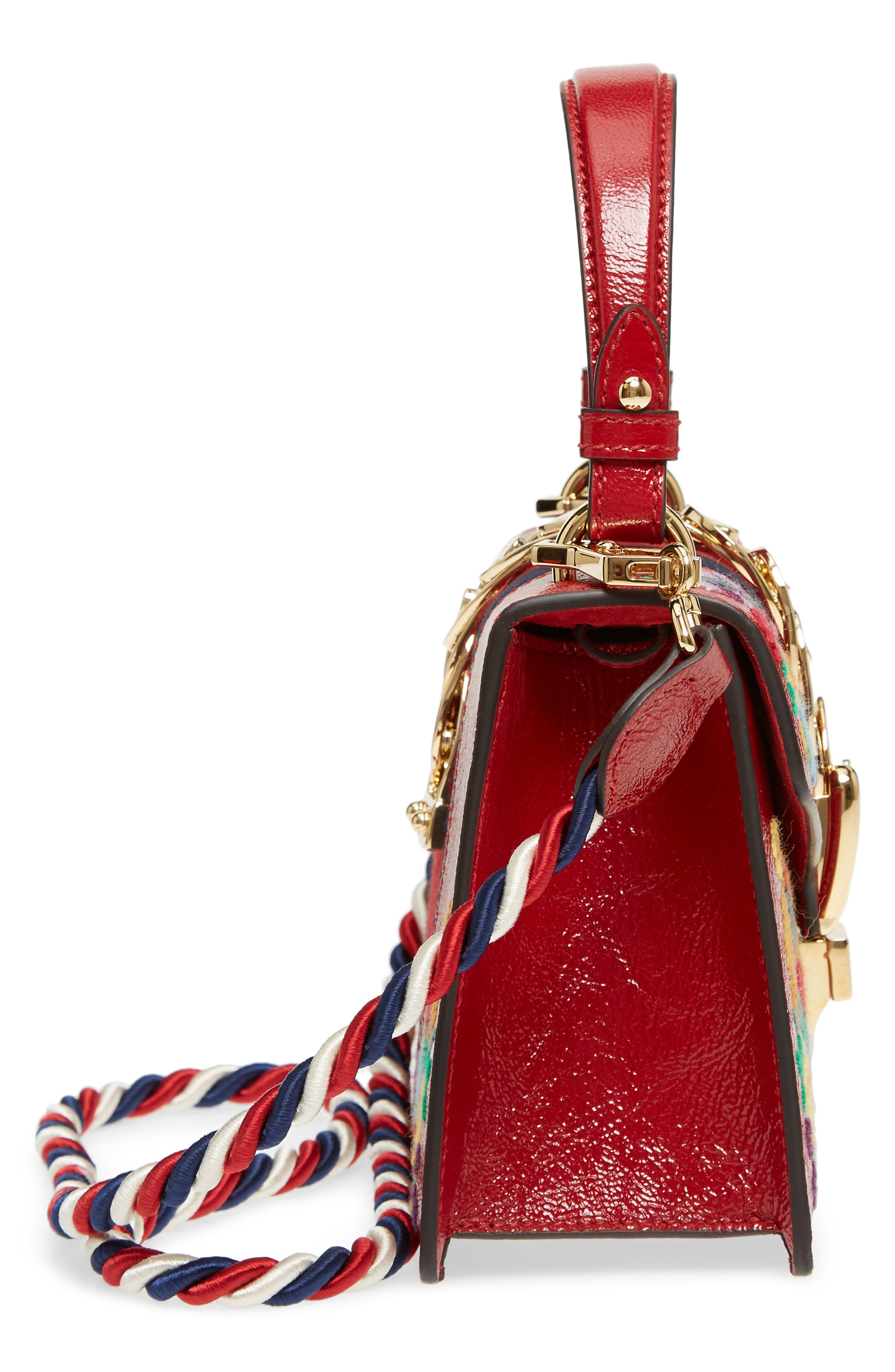 Mini Sylvie Flower Embroidery Leather Shoulder Bag,                             Alternate thumbnail 5, color,                             Hibiscus Red Multi/ Blue