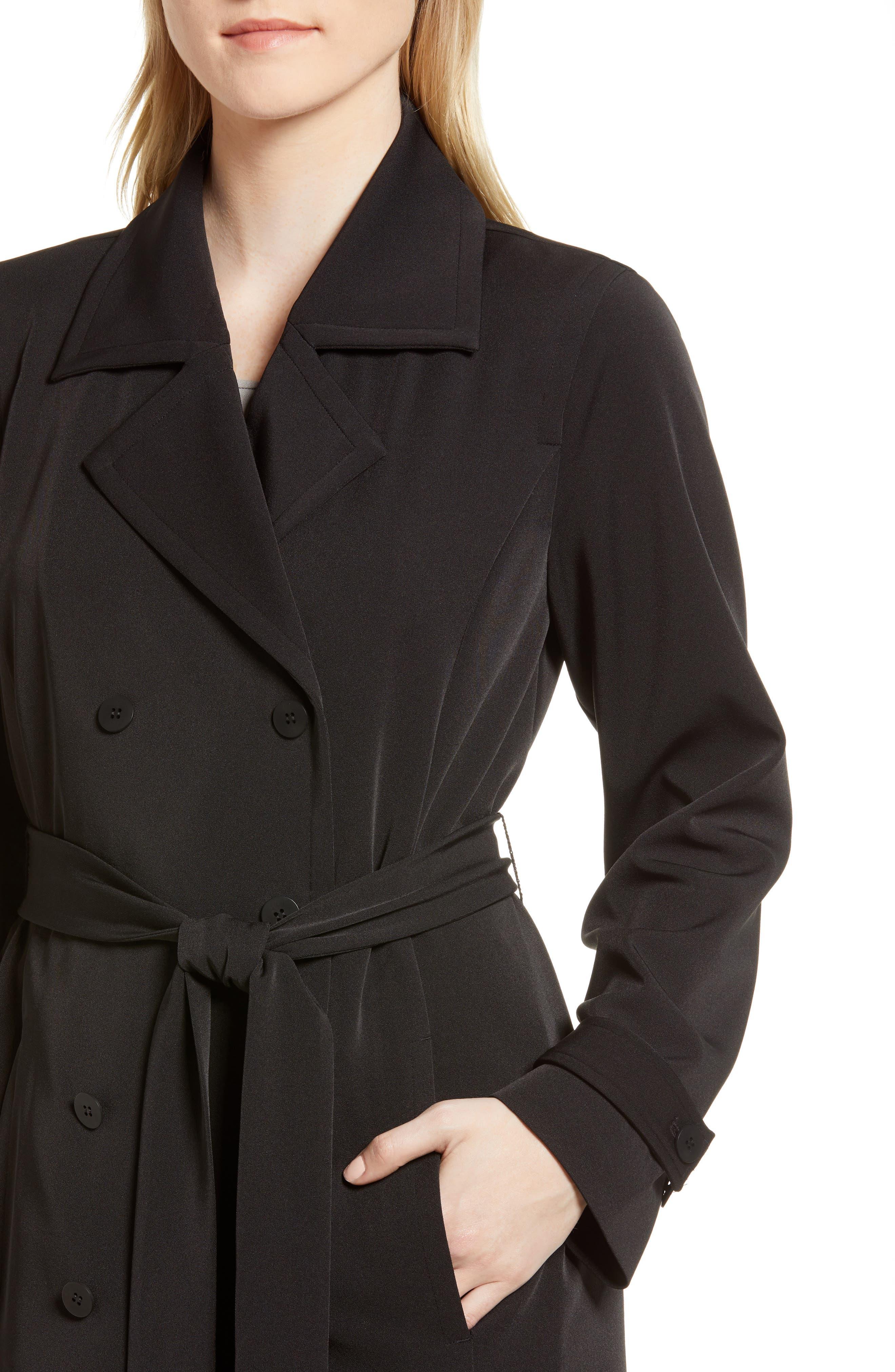 Trench Coat,                             Alternate thumbnail 4, color,                             Black