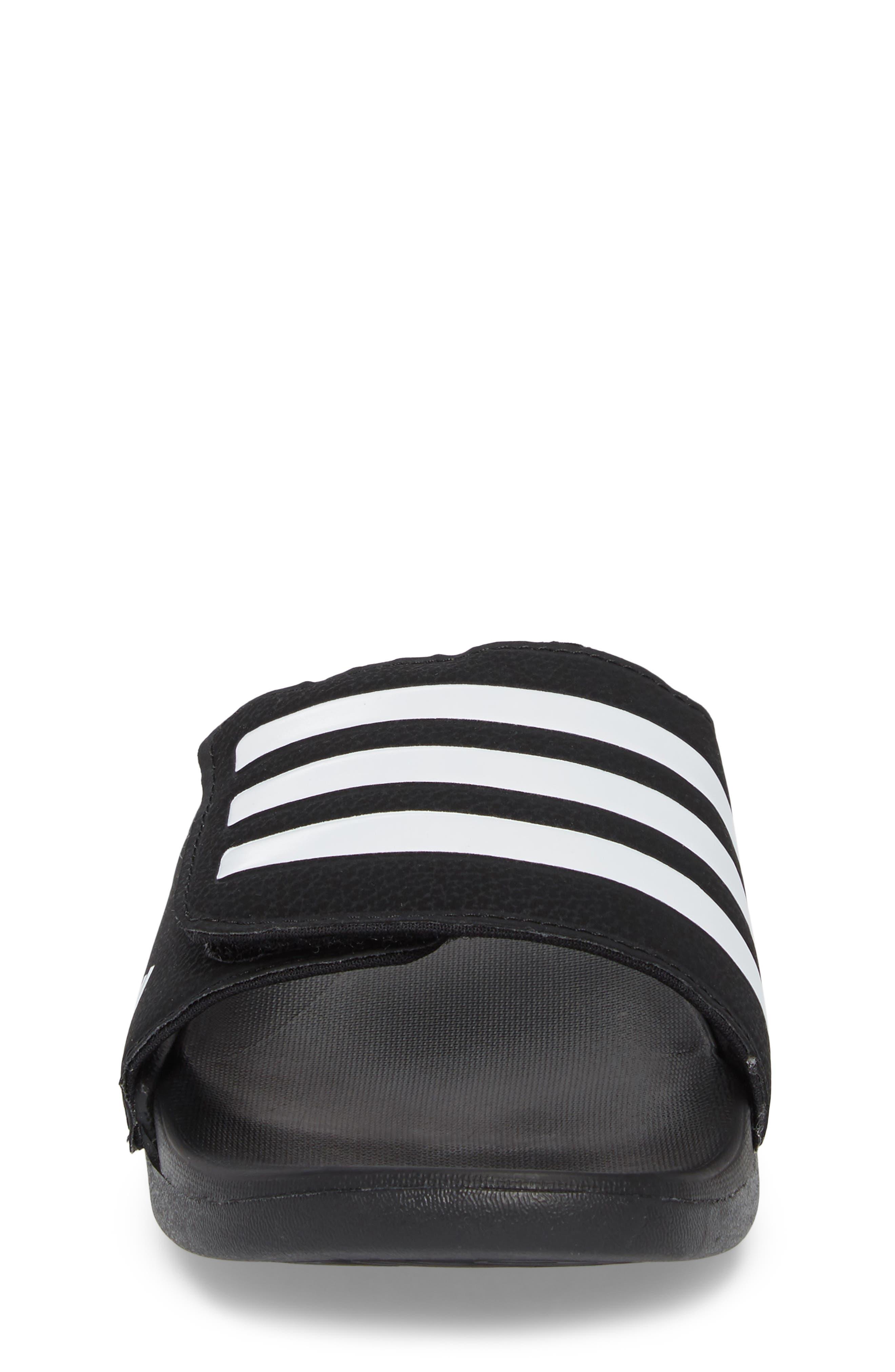 Adilette Slide Sandal,                             Alternate thumbnail 4, color,                             Black/ White