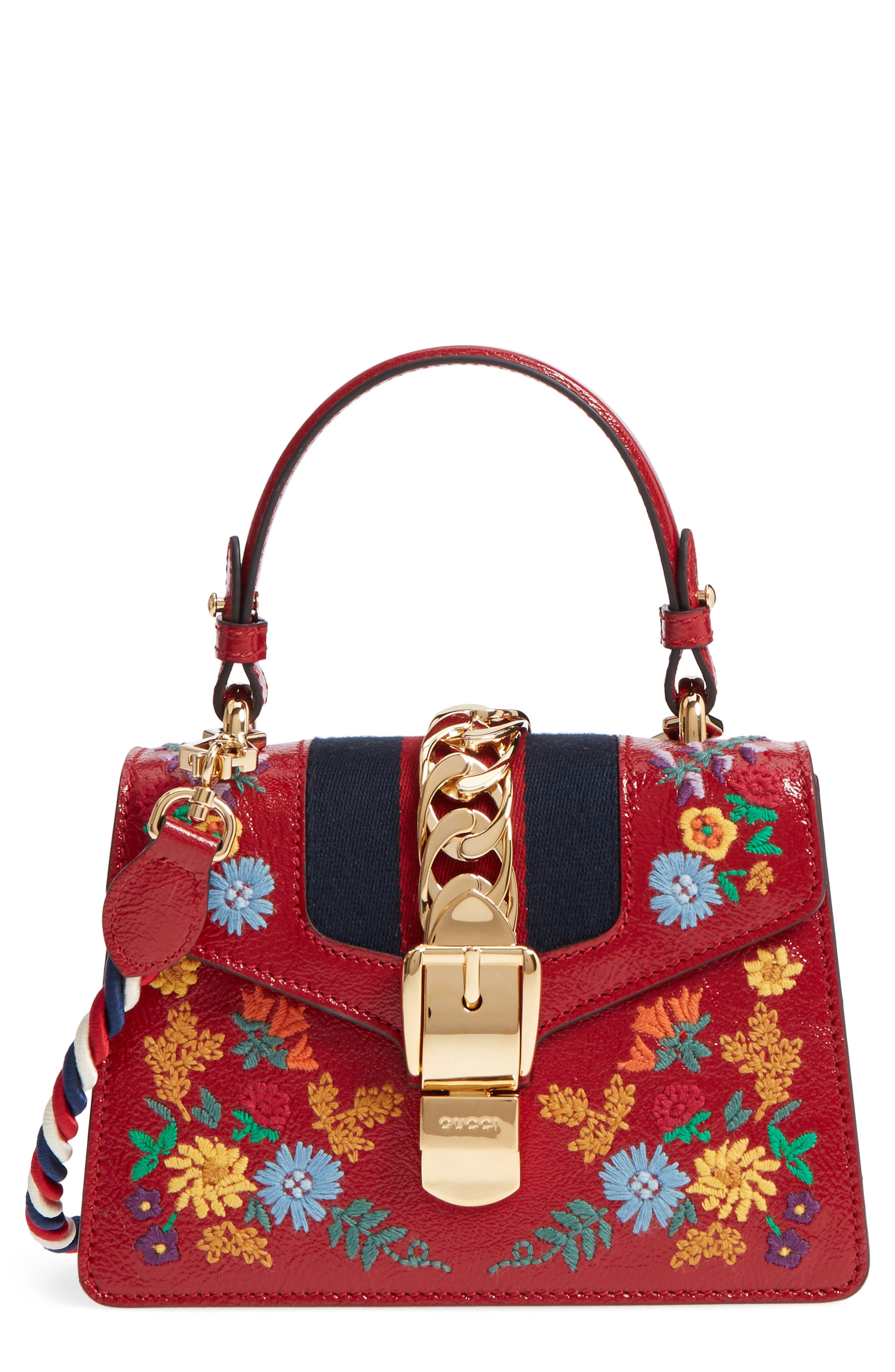 Mini Sylvie Flower Embroidery Leather Shoulder Bag,                             Main thumbnail 1, color,                             Hibiscus Red Multi/ Blue