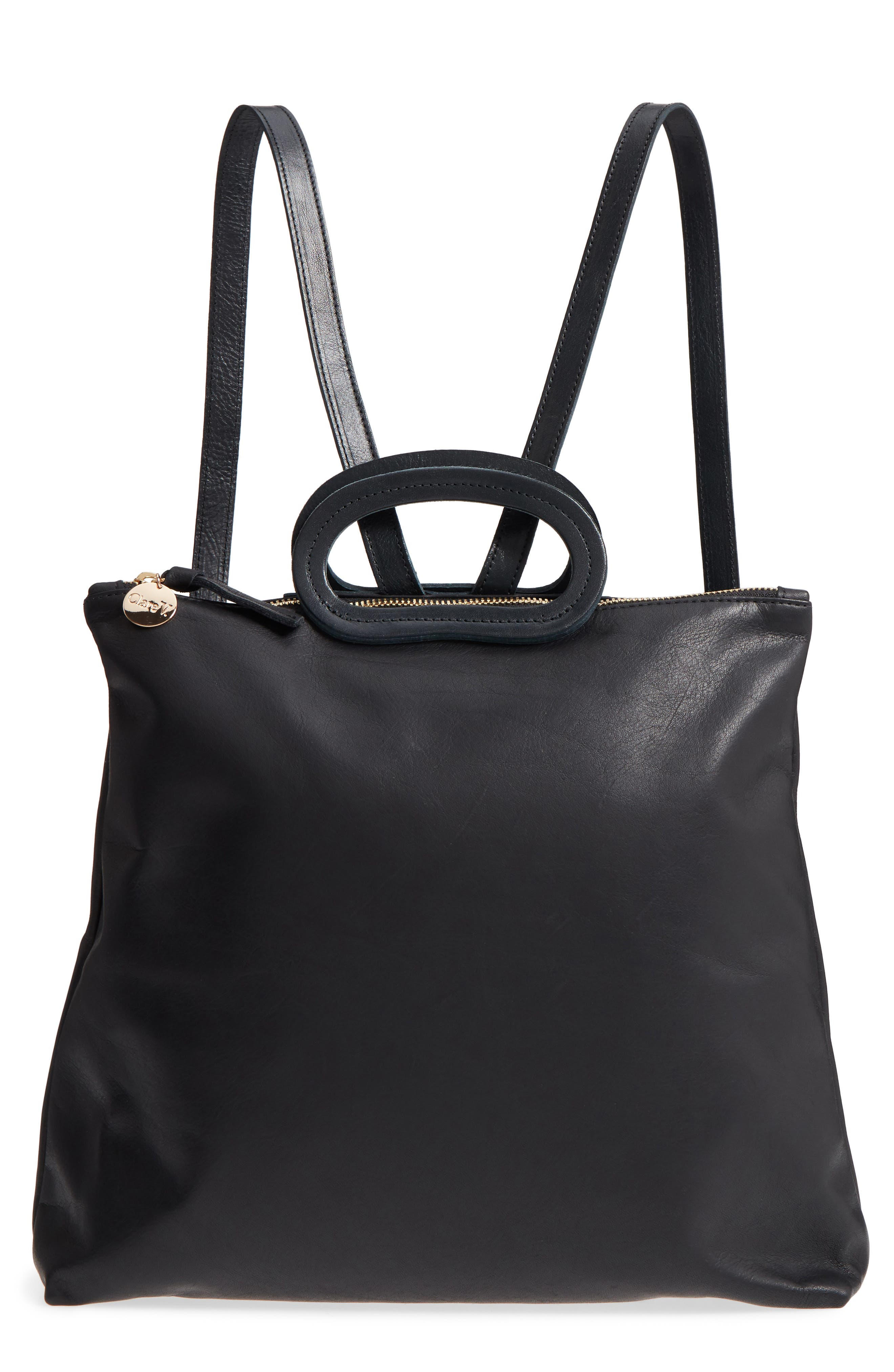 Marcelle Lambskin Leather Backpack,                         Main,                         color, Black