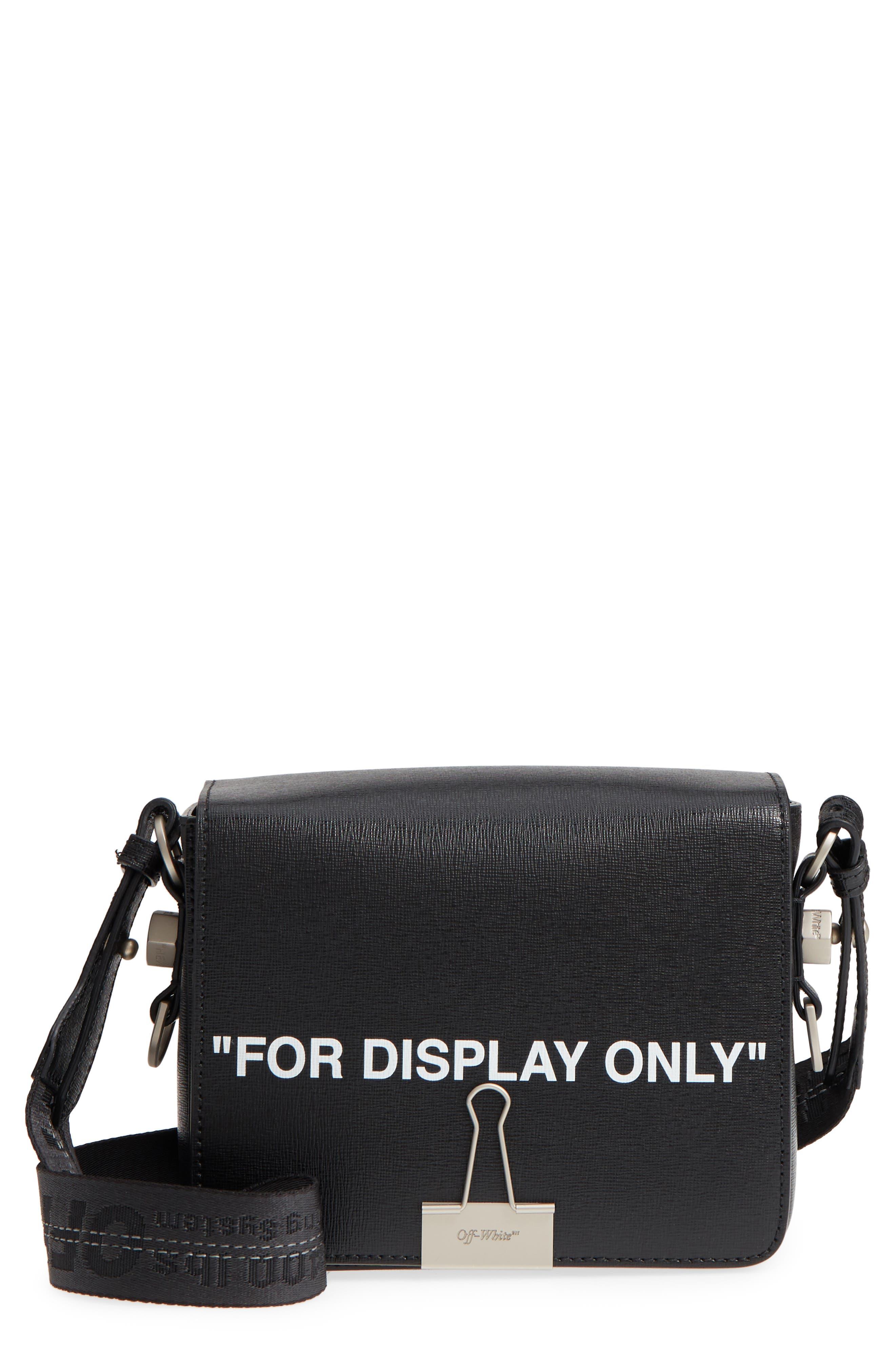 Virgil Was Here Binder Clip Leather Shoulder Bag,                         Main,                         color, Black White