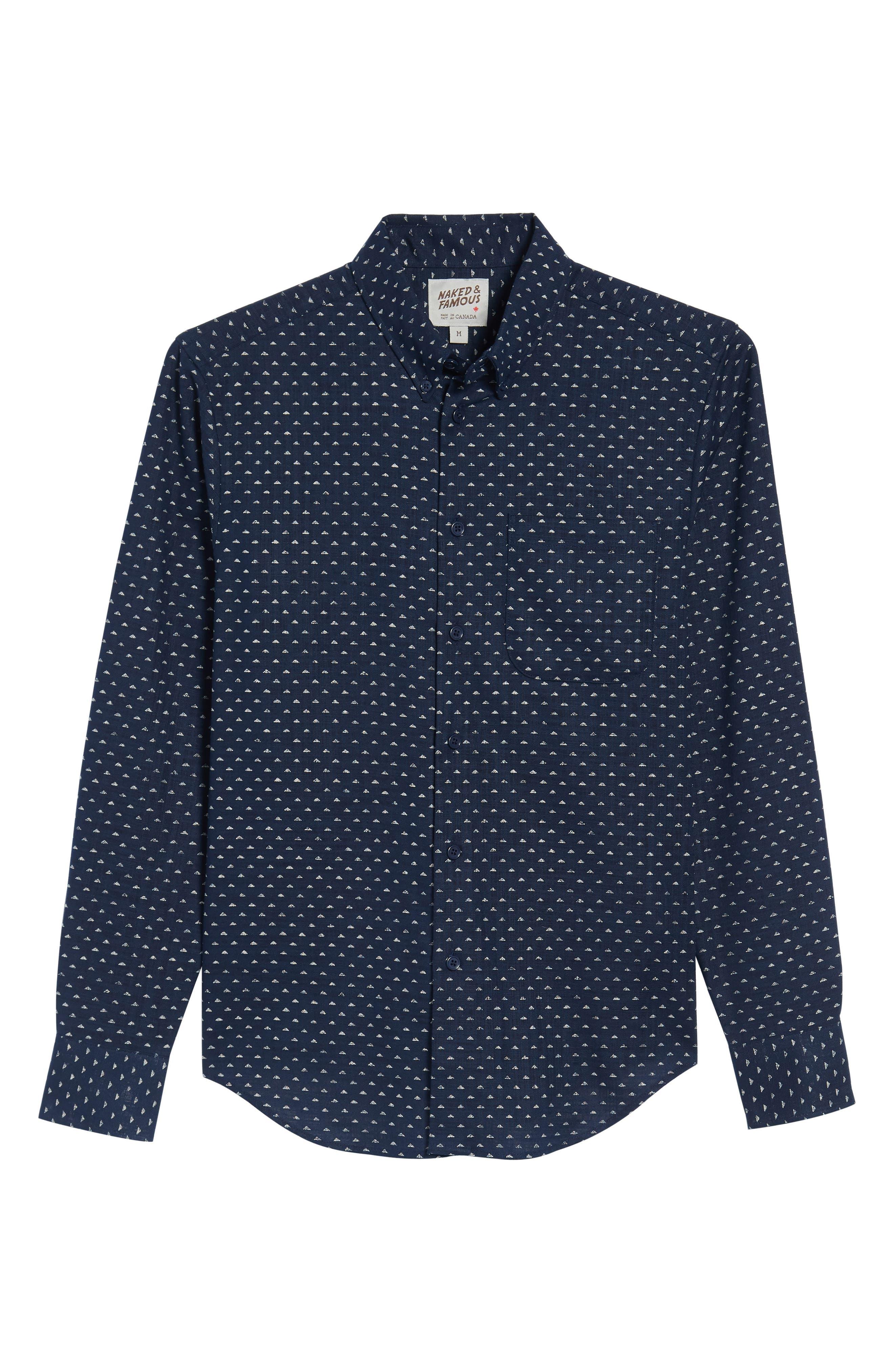 Kimono Print Shirt,                             Alternate thumbnail 6, color,                             Indigo