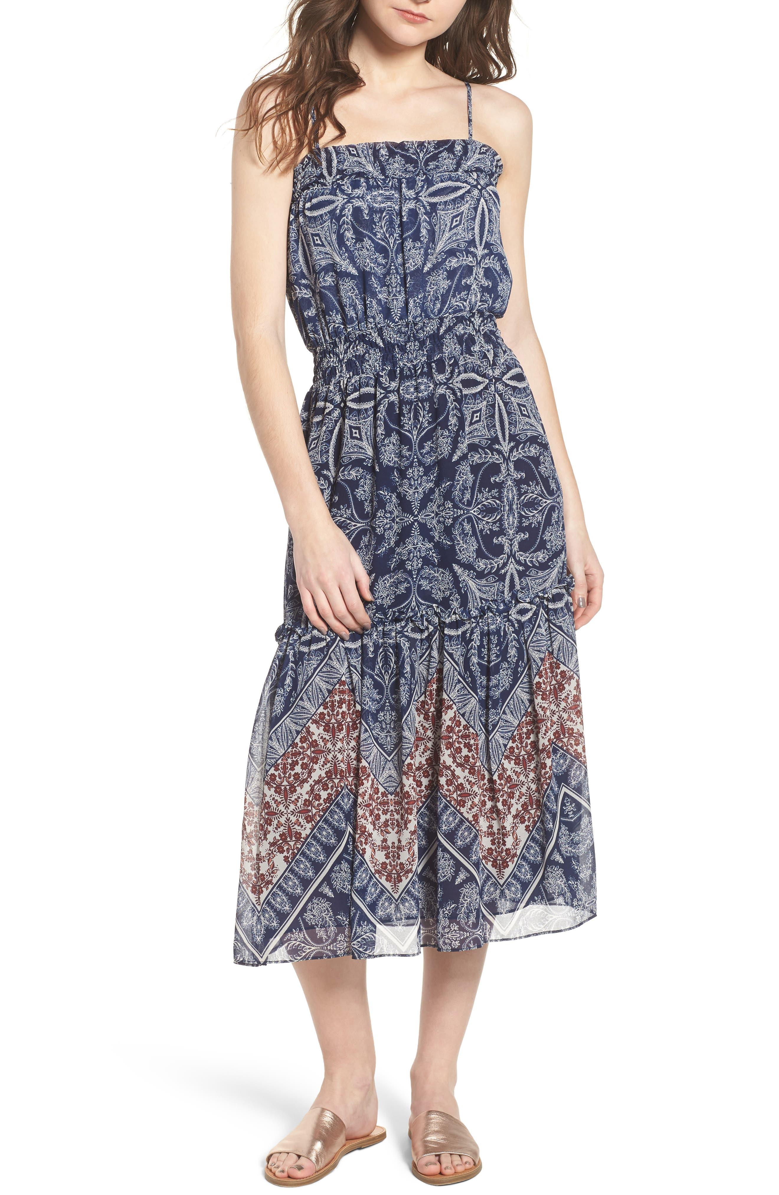 Adel Print Midi Dress,                             Main thumbnail 1, color,                             Blue Fe3