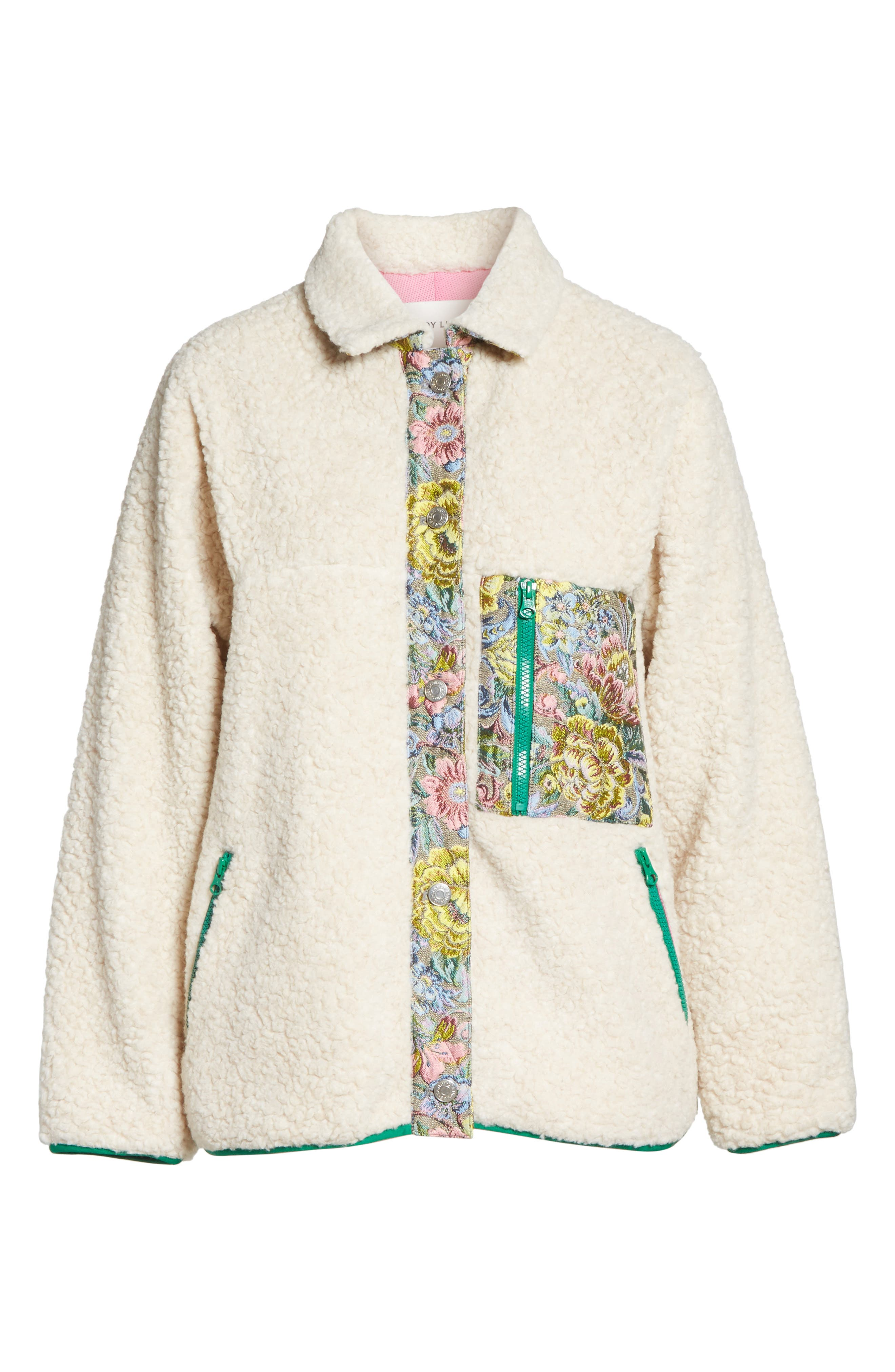 Bayside Floral Trim Fleece Jacket,                             Alternate thumbnail 7, color,                             Creamy