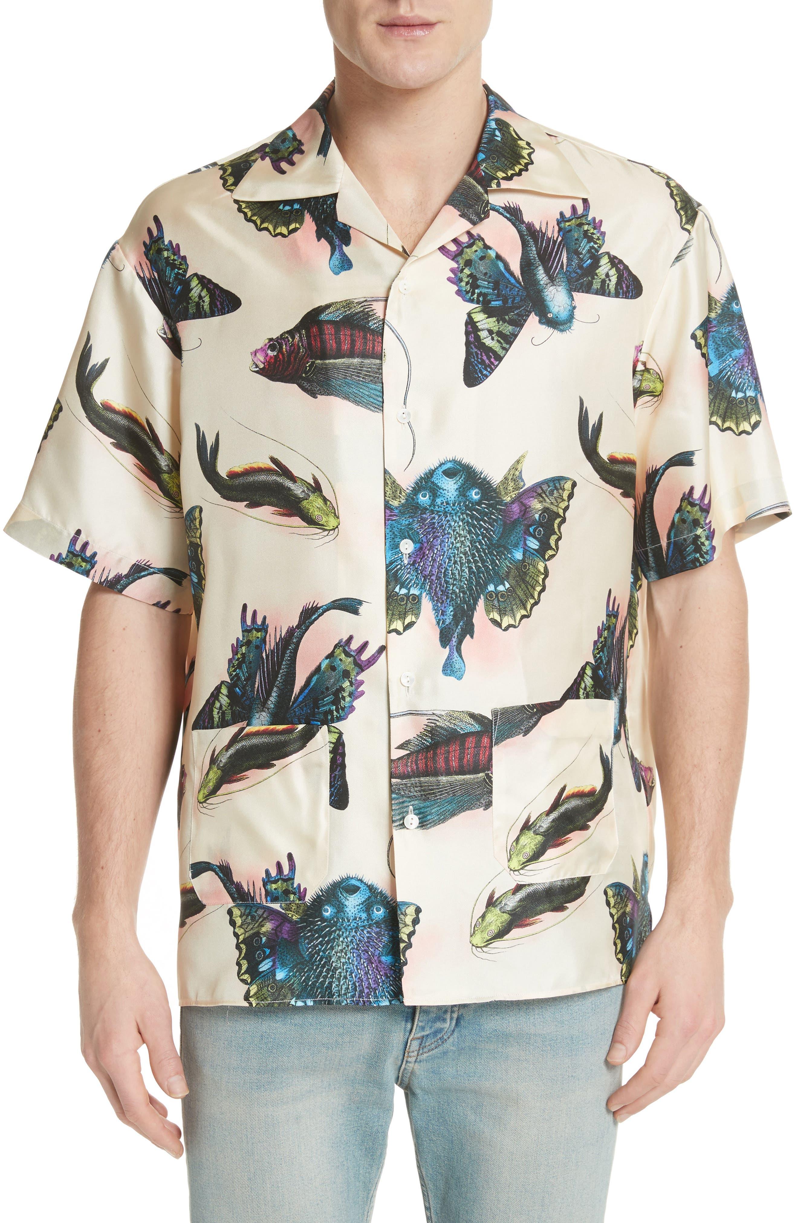 Flying Fish Silk Bowling Shirt,                         Main,                         color, 9273 Ivory
