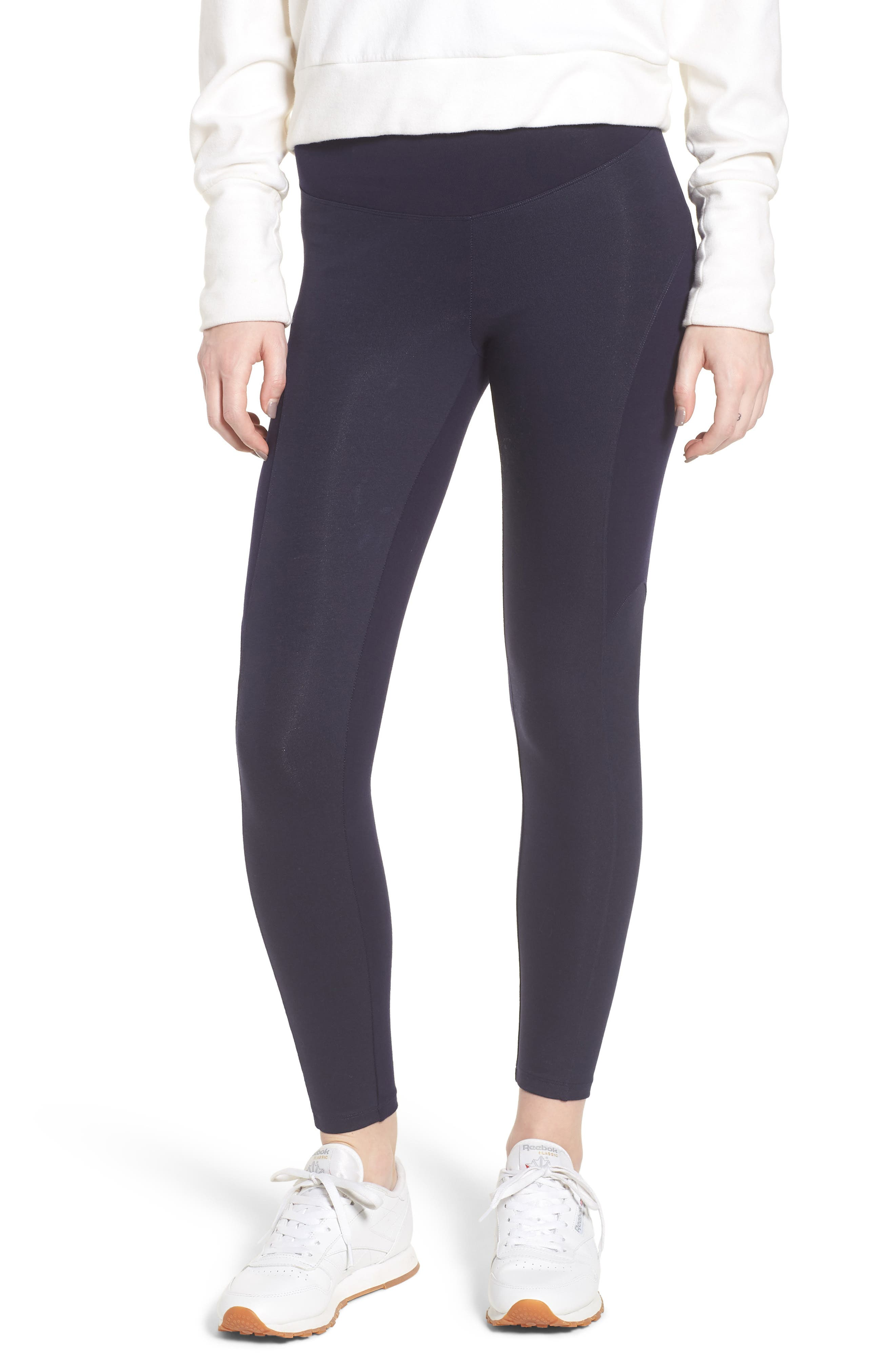 Coated Side Panel Ankle Leggings,                         Main,                         color, Evening Blue
