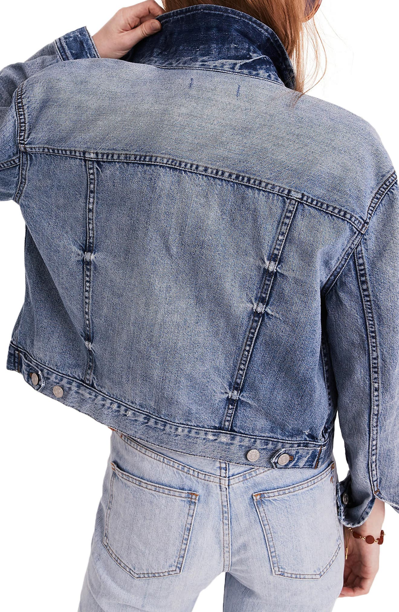 Boxy Crop Jean Jacket,                             Alternate thumbnail 2, color,                             Woodcourt Wash