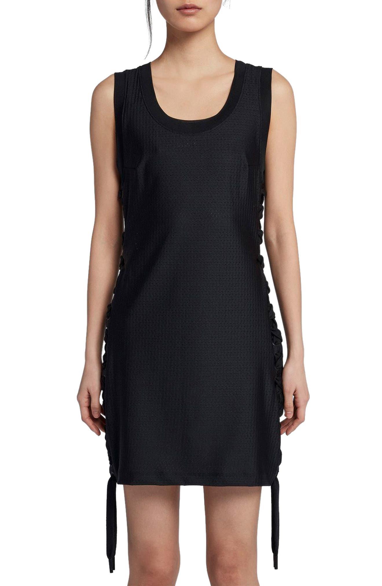 NikeLab x RT Jersey & Mesh Dress,                         Main,                         color, Black