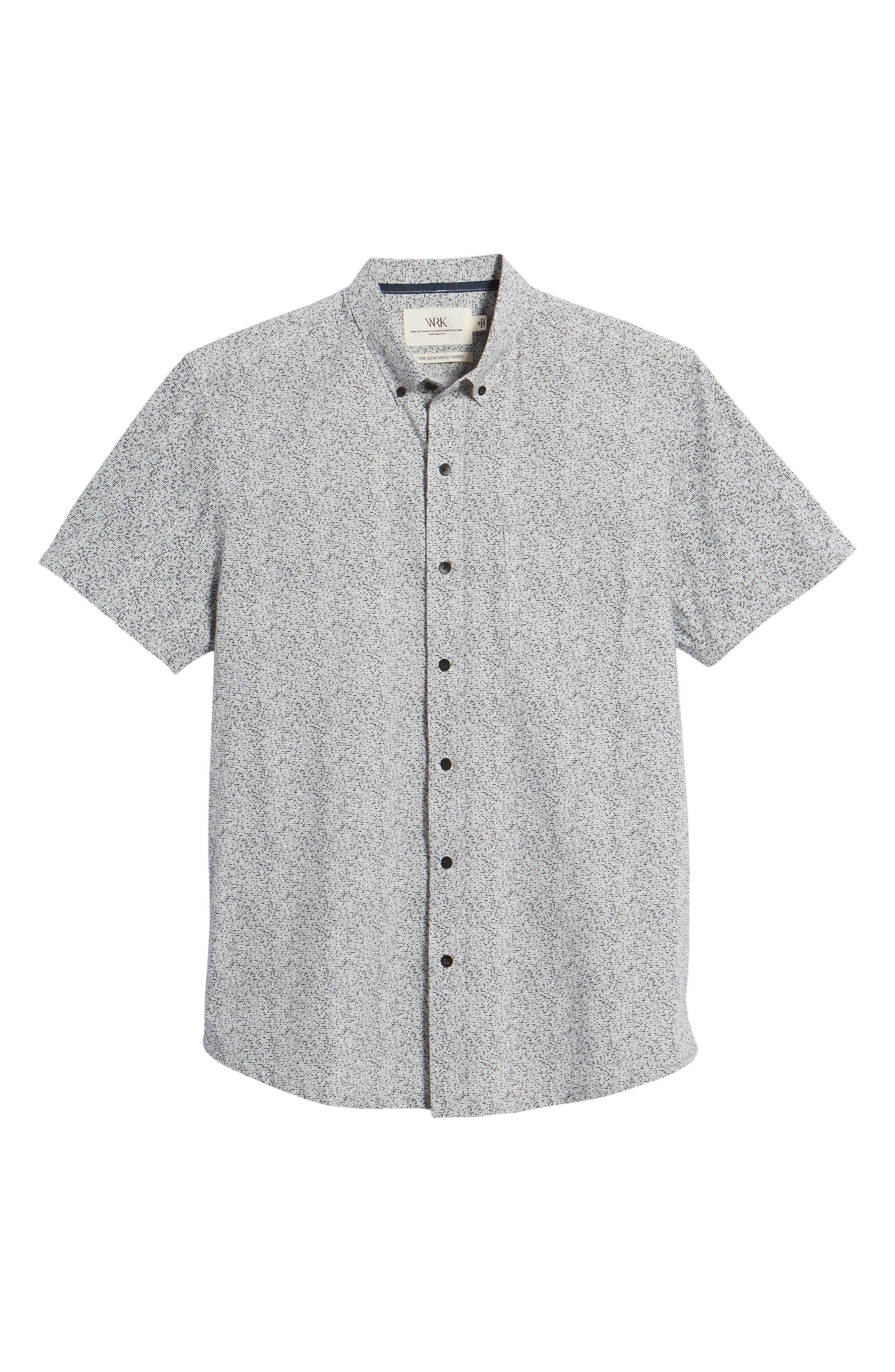 Rework Slim Fit Dot Print Sport Shirt,                             Alternate thumbnail 6, color,                             Black