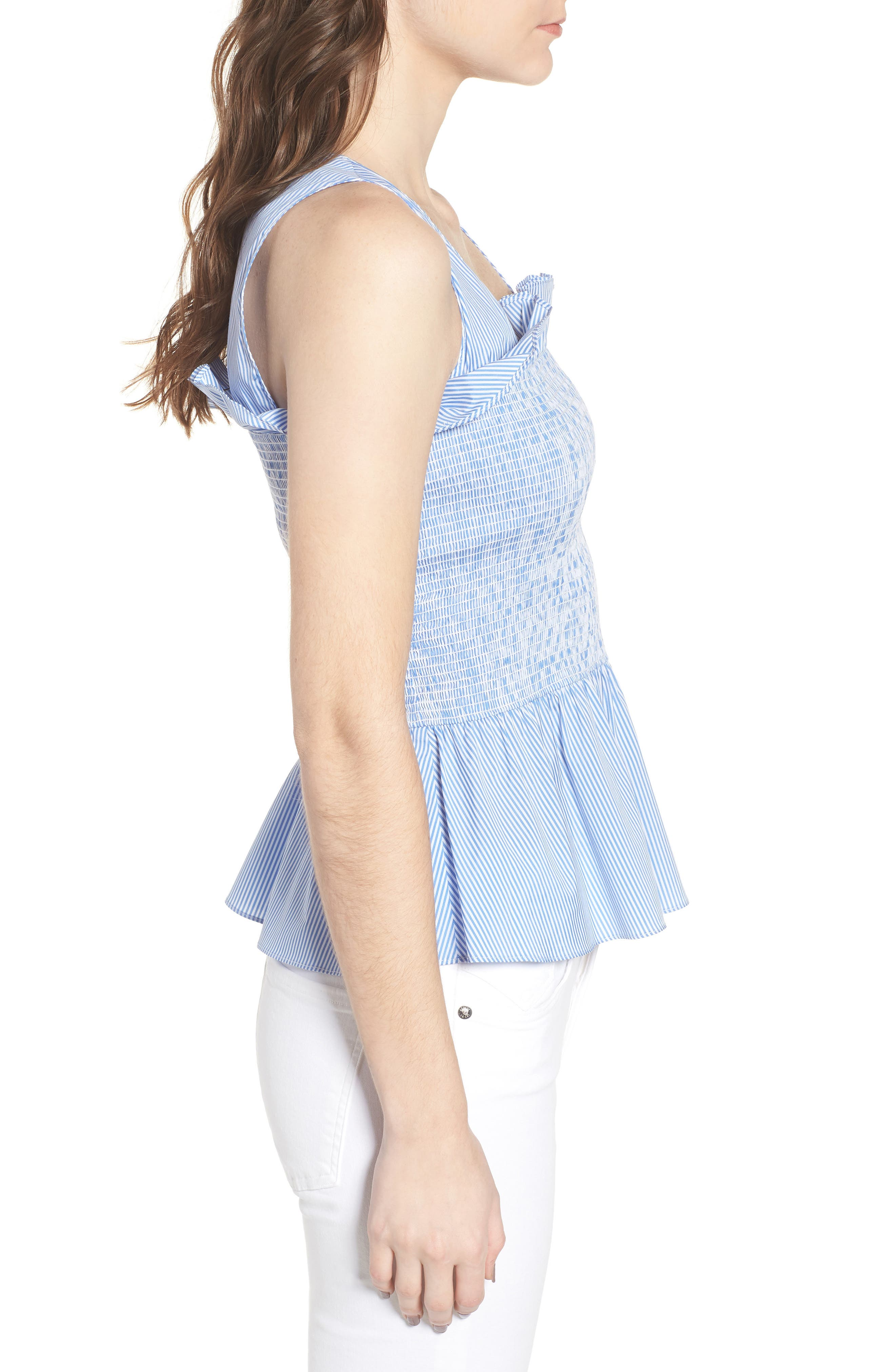 Smocked Bustier Top,                             Alternate thumbnail 3, color,                             Blue Stream Stripe