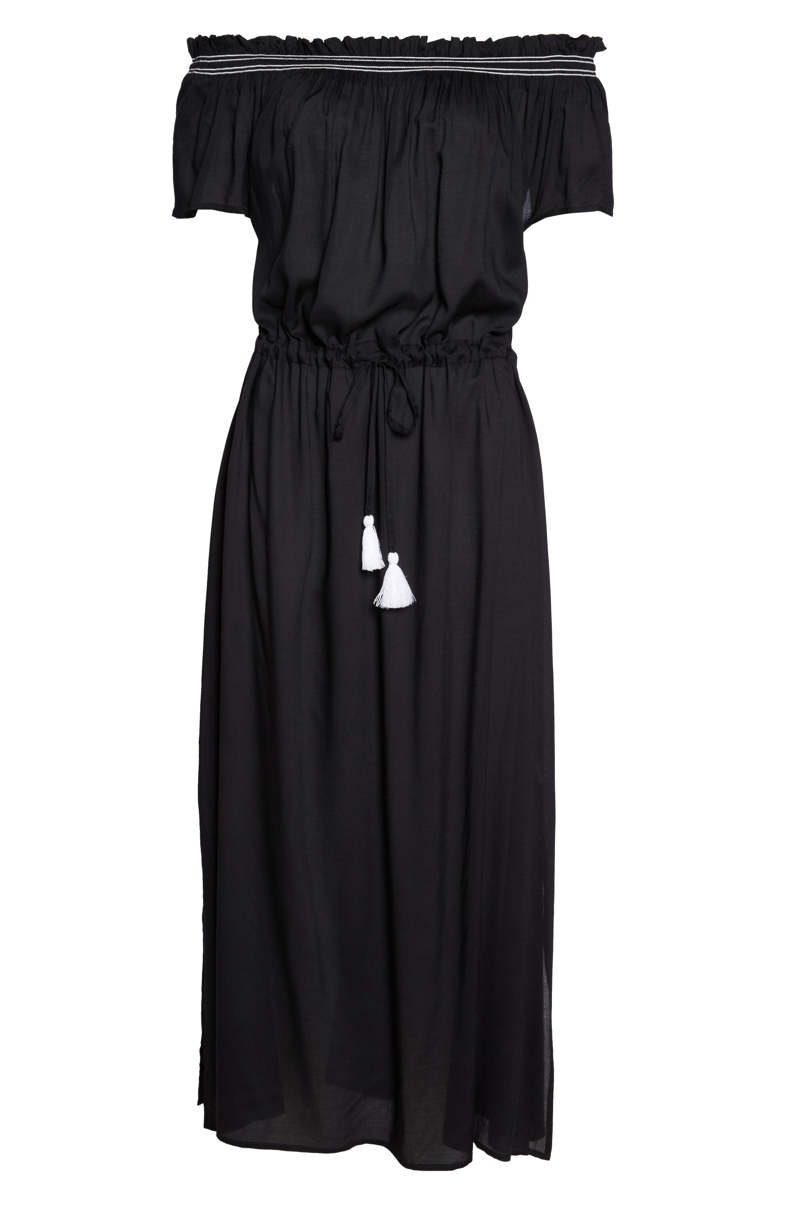 Off the Shoulder Cover-Up Dress,                             Alternate thumbnail 6, color,                             Black