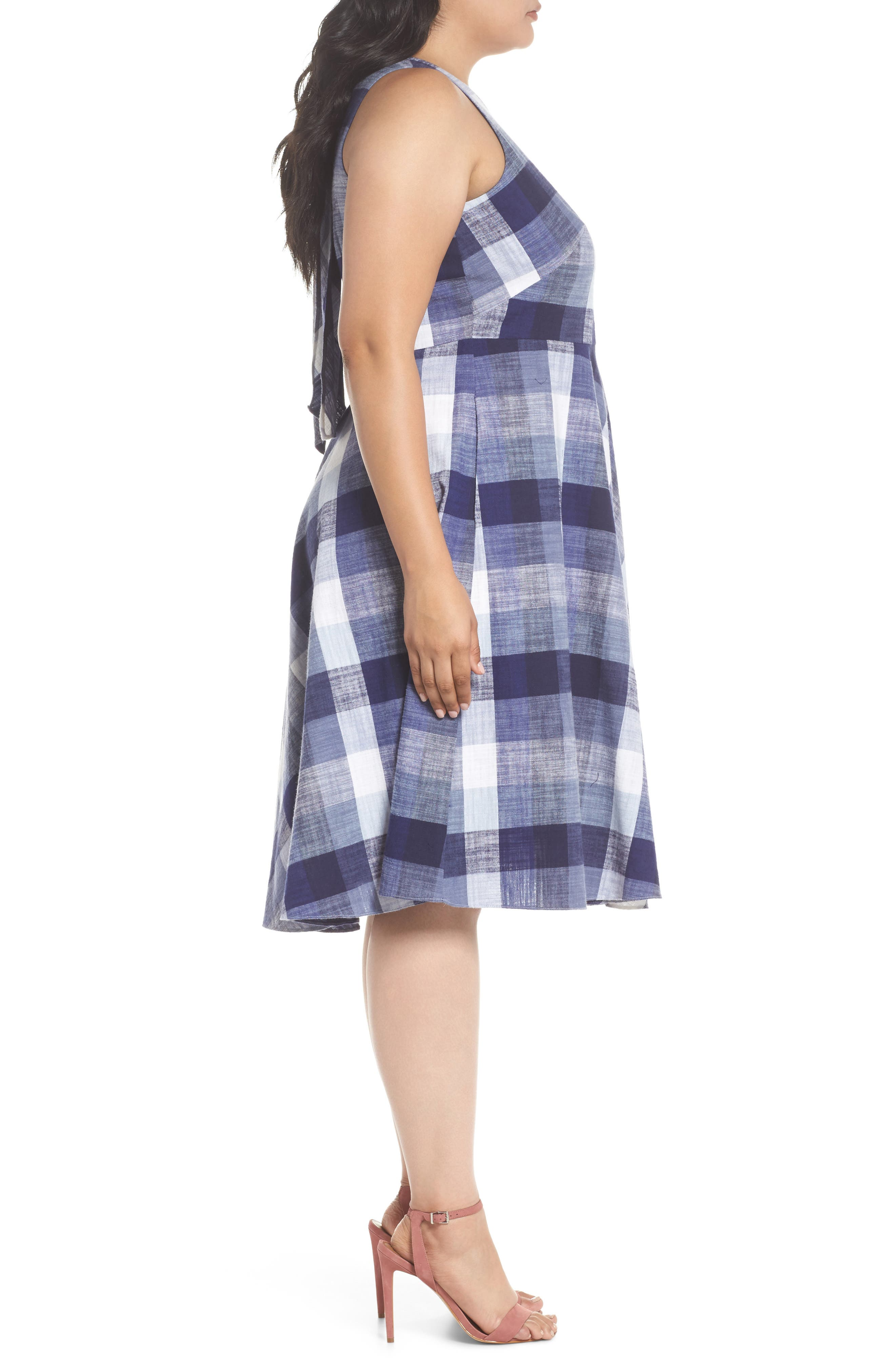 Check Fit & Flare Dress,                             Alternate thumbnail 3, color,                             Navy