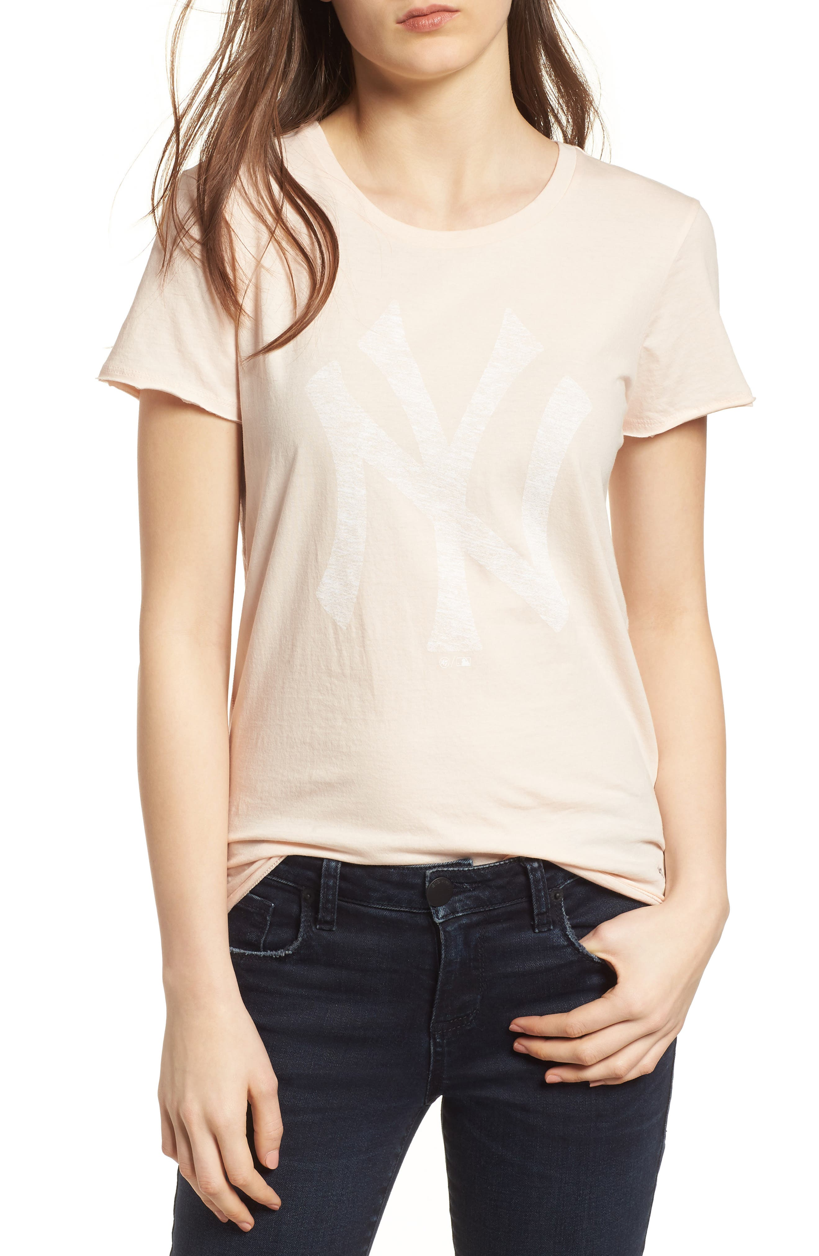 New York Yankees Fader Letter Tee,                         Main,                         color, Blush