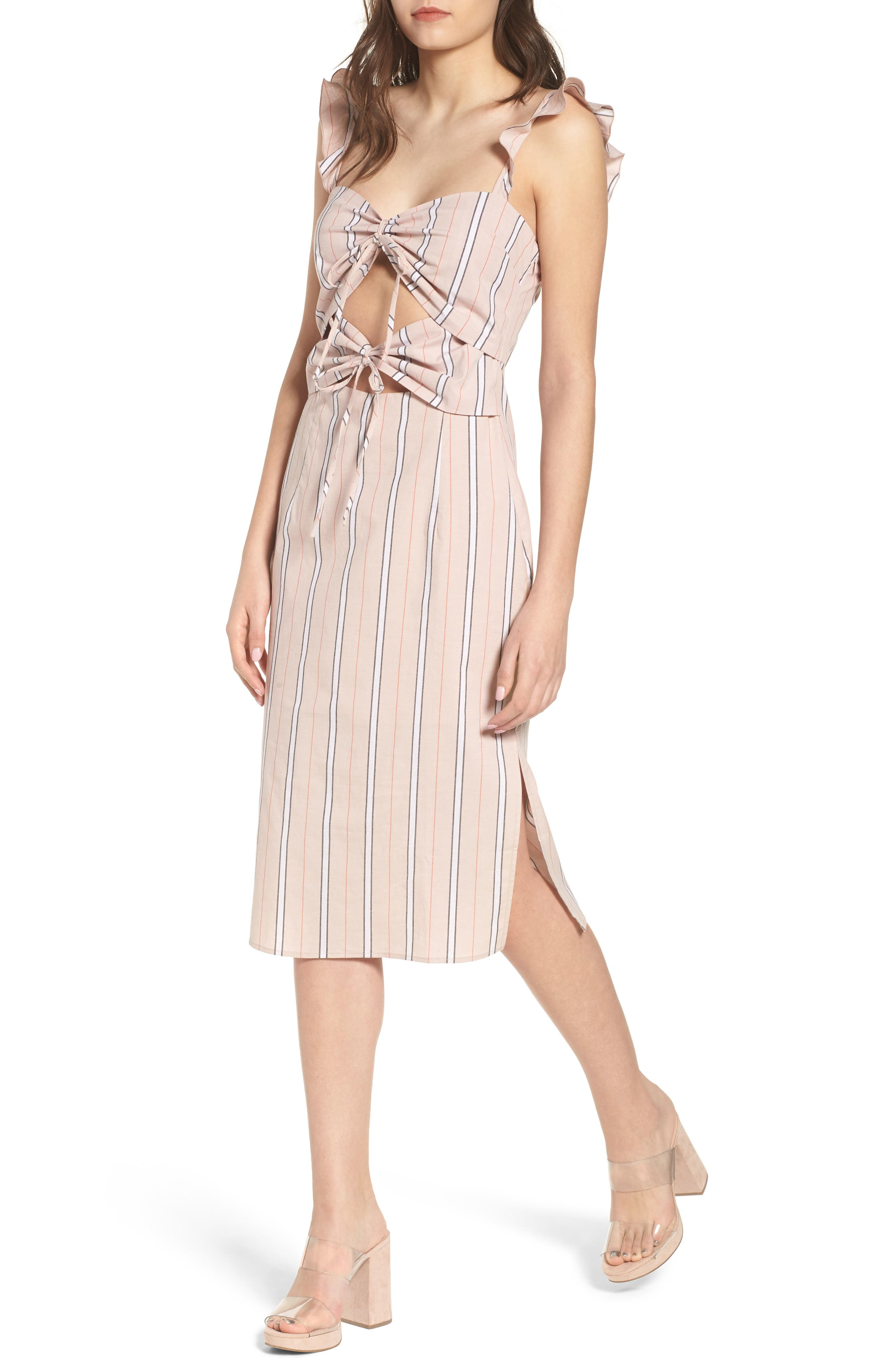 Verona Cutout Midi Dress,                             Main thumbnail 1, color,                             Coral Stripe