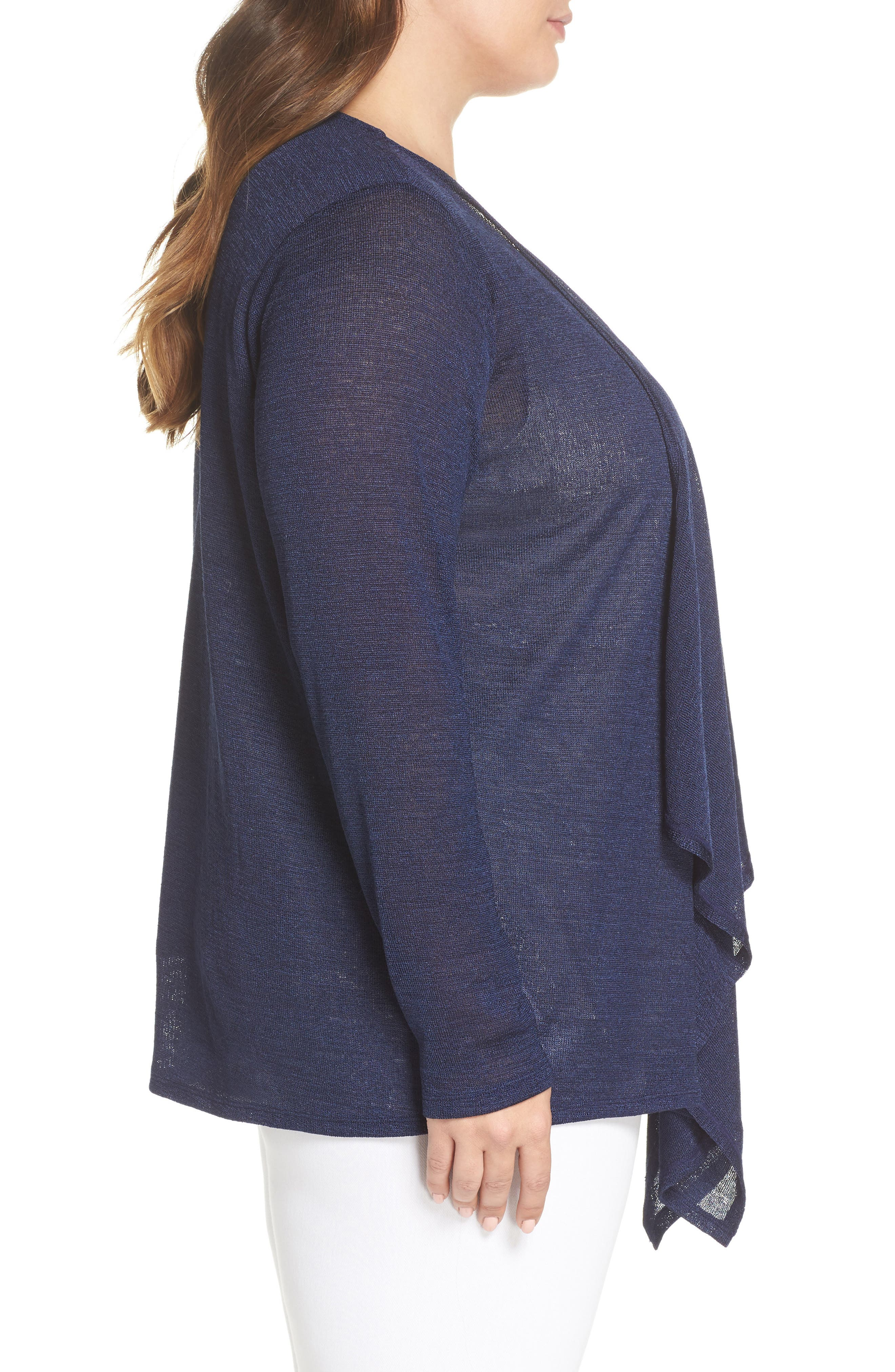 Draped Front Cardigan,                             Alternate thumbnail 3, color,                             True Navy