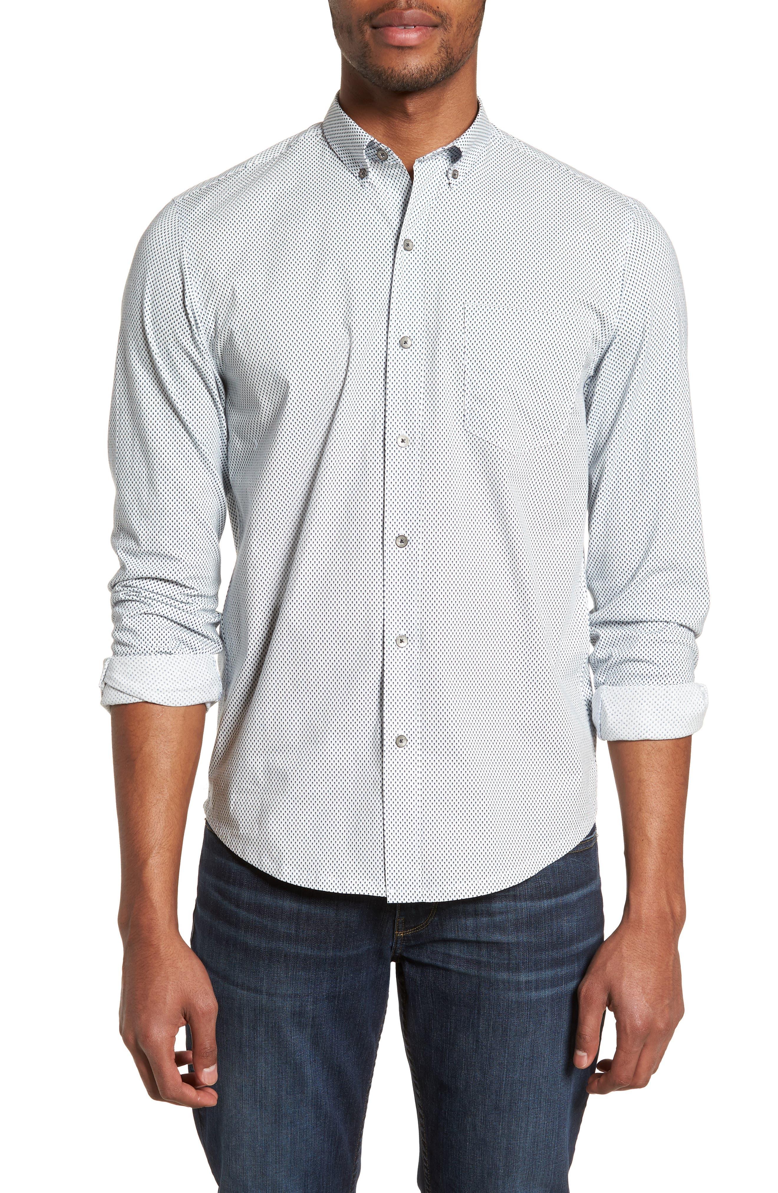 Reworked Slim Fit Diamond Print Sport Shirt,                             Main thumbnail 1, color,                             White/ Navy