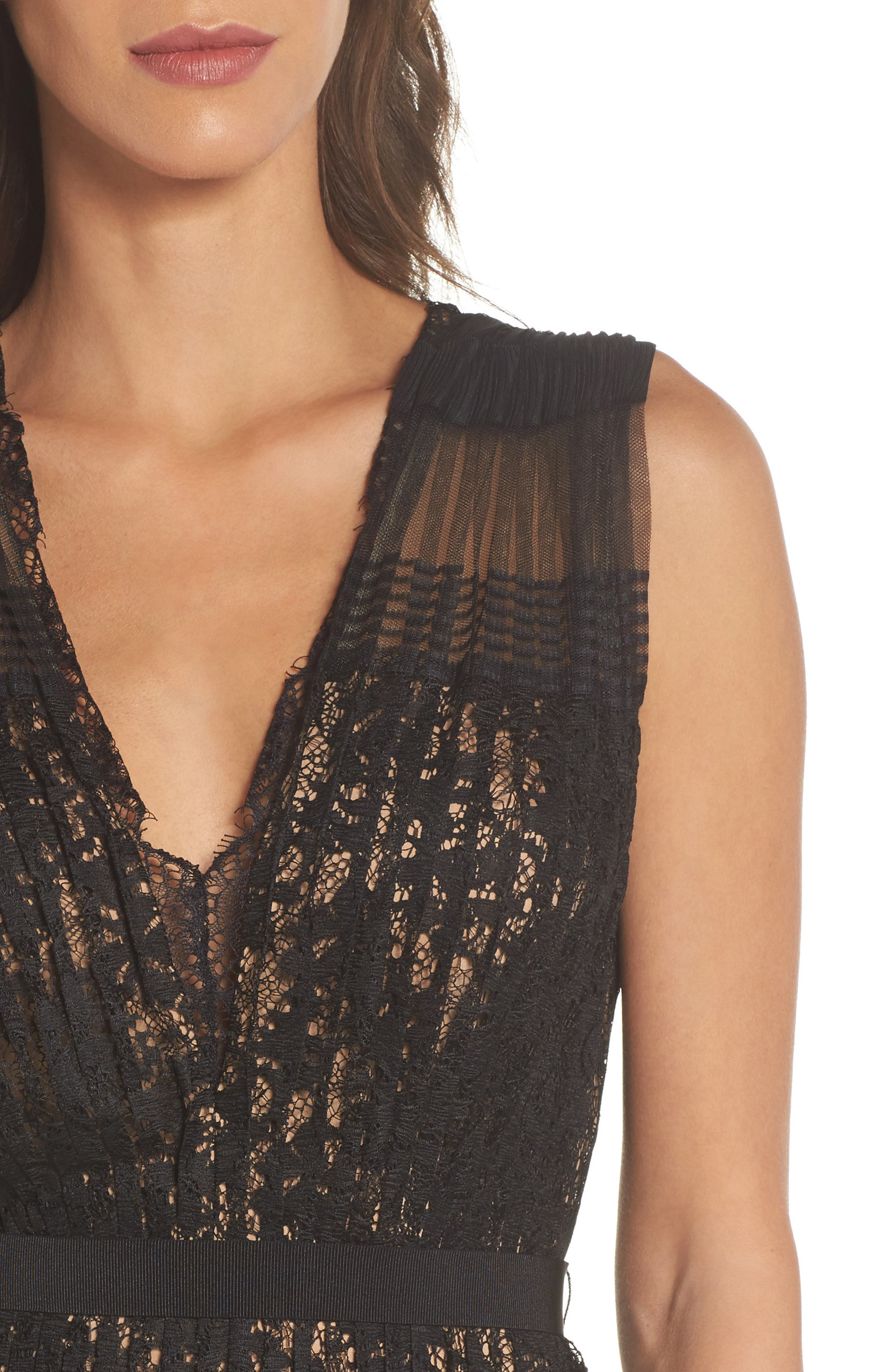 Pleated Lace Gown,                             Alternate thumbnail 4, color,                             Black/ Nude