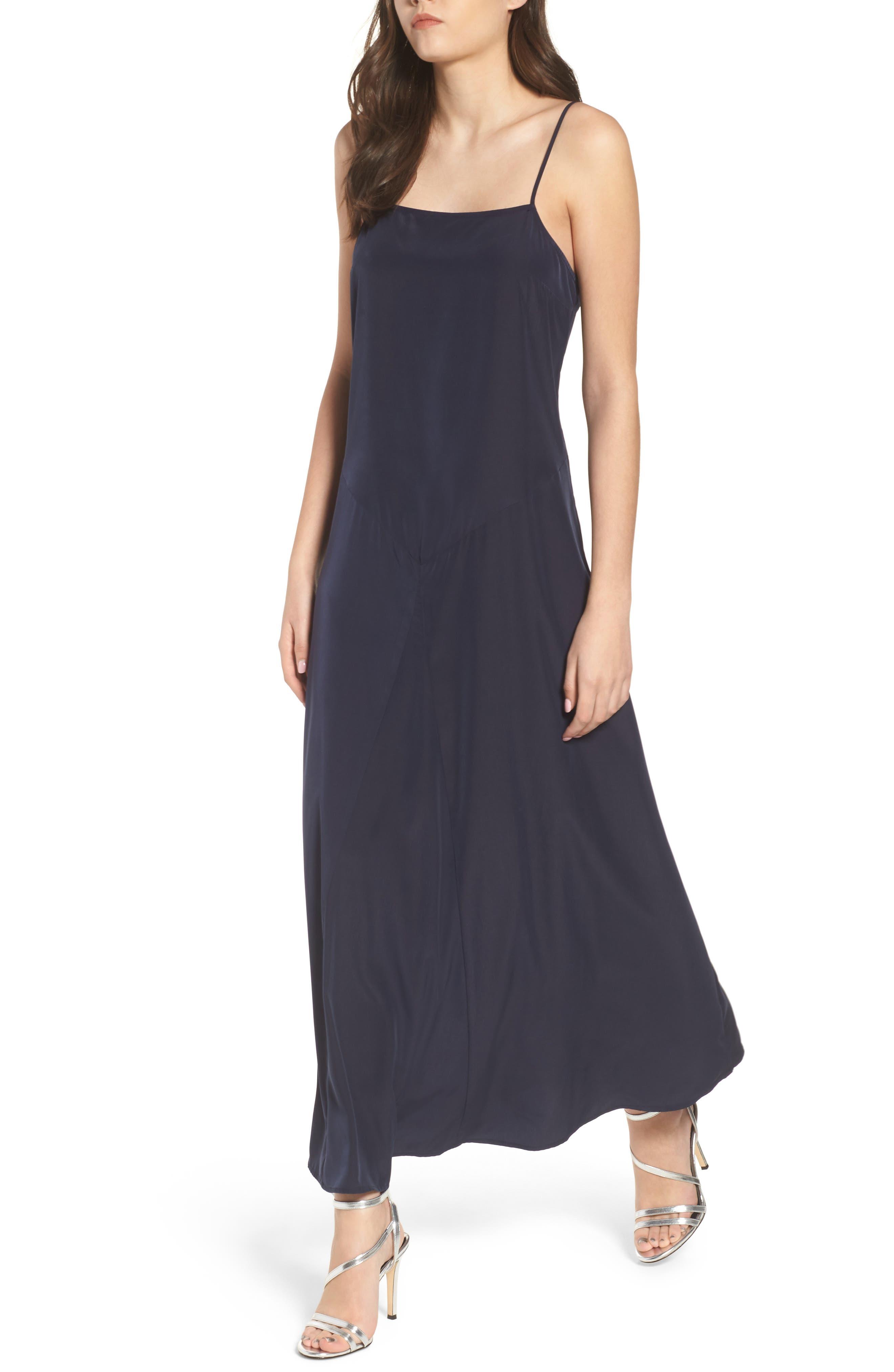 Maxi Slip Dress,                         Main,                         color, Navy Night