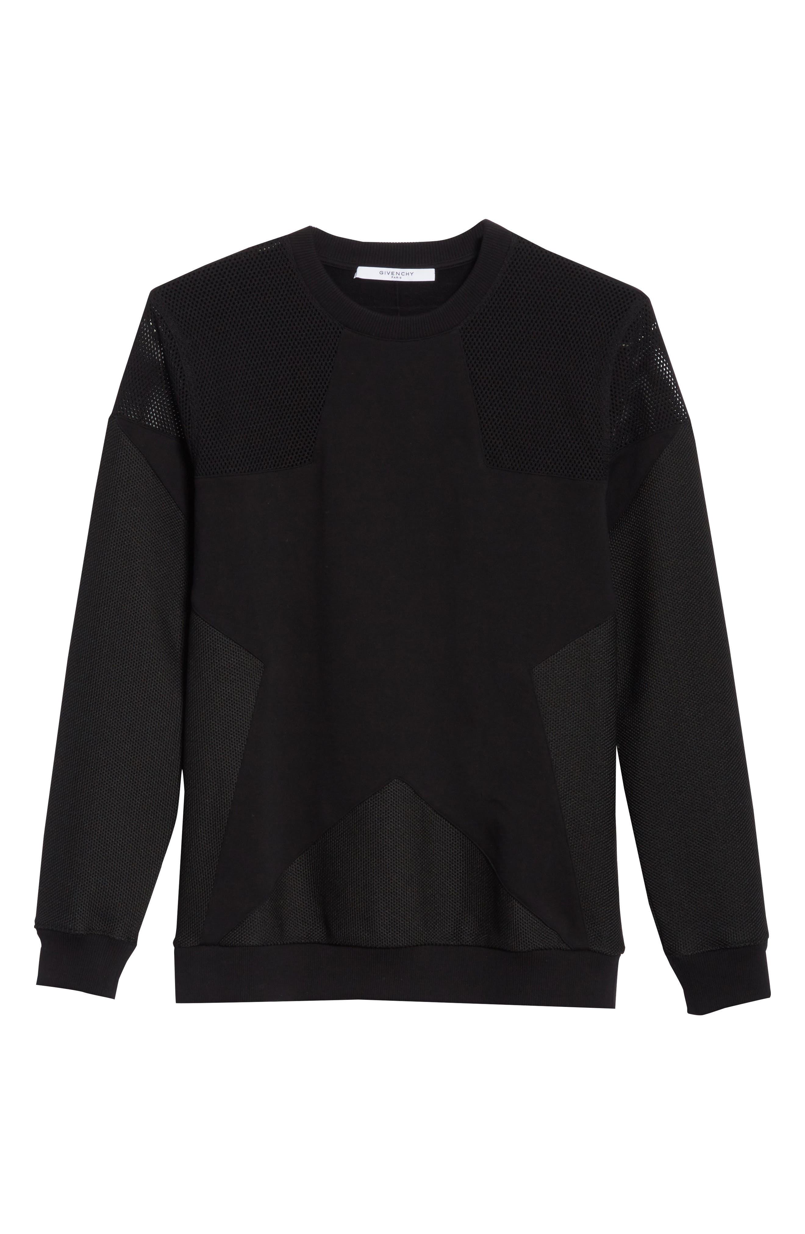 Mesh Star Crewneck Sweatshirt,                             Alternate thumbnail 6, color,                             Black