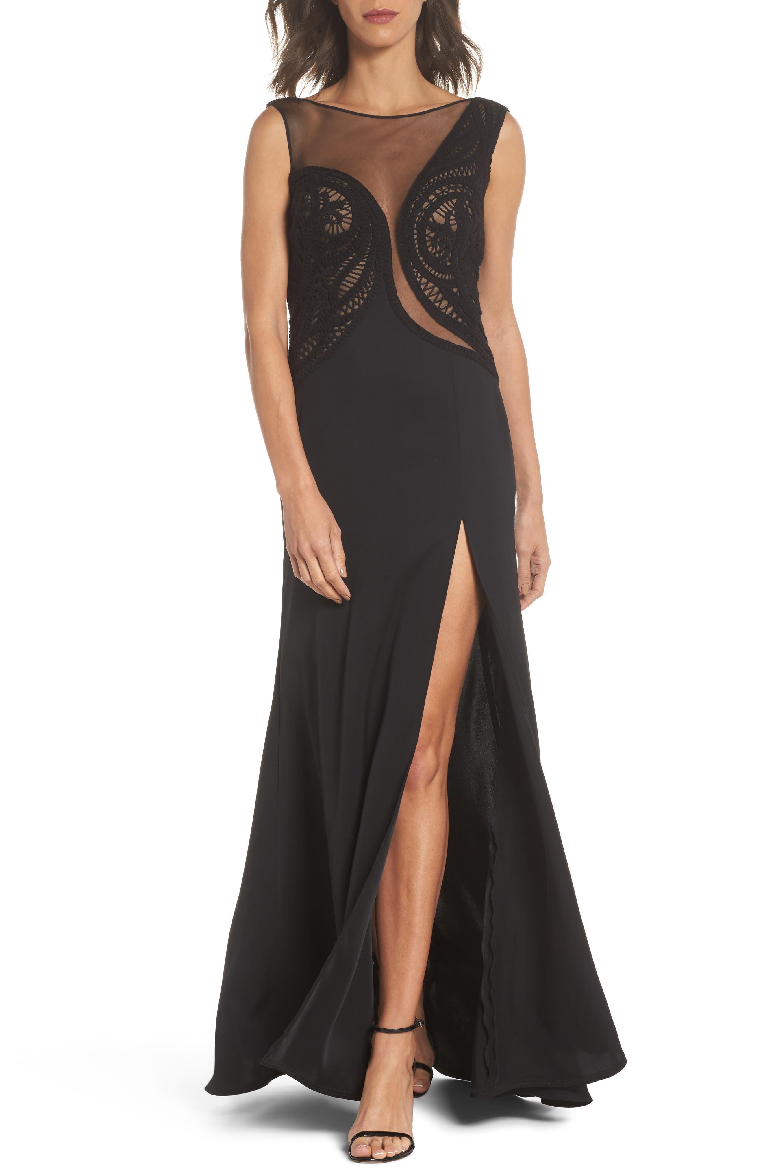 Crochet Lace Gown,                         Main,                         color, Black/ Nude