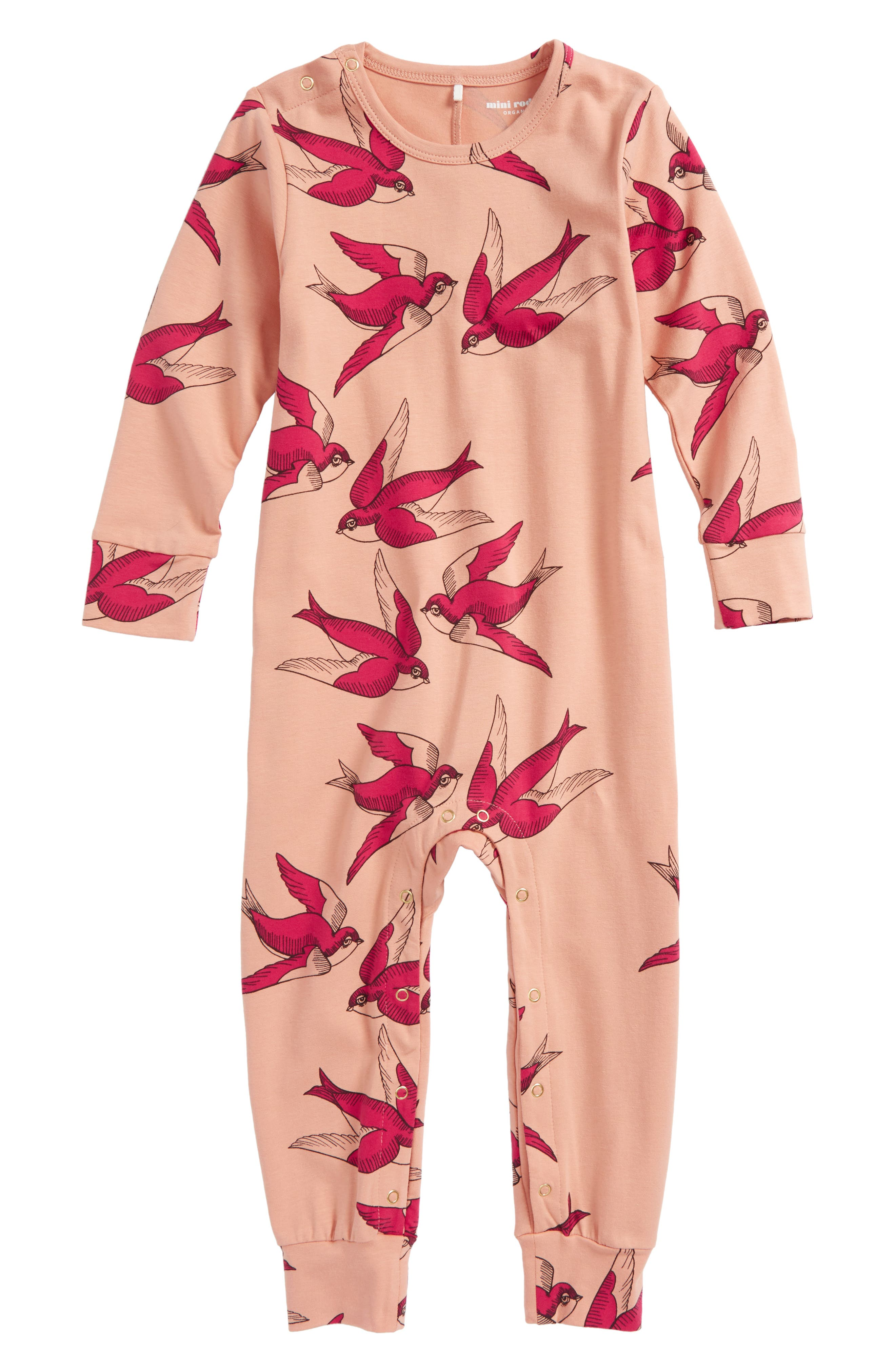 Swallows Romper,                         Main,                         color, Pink