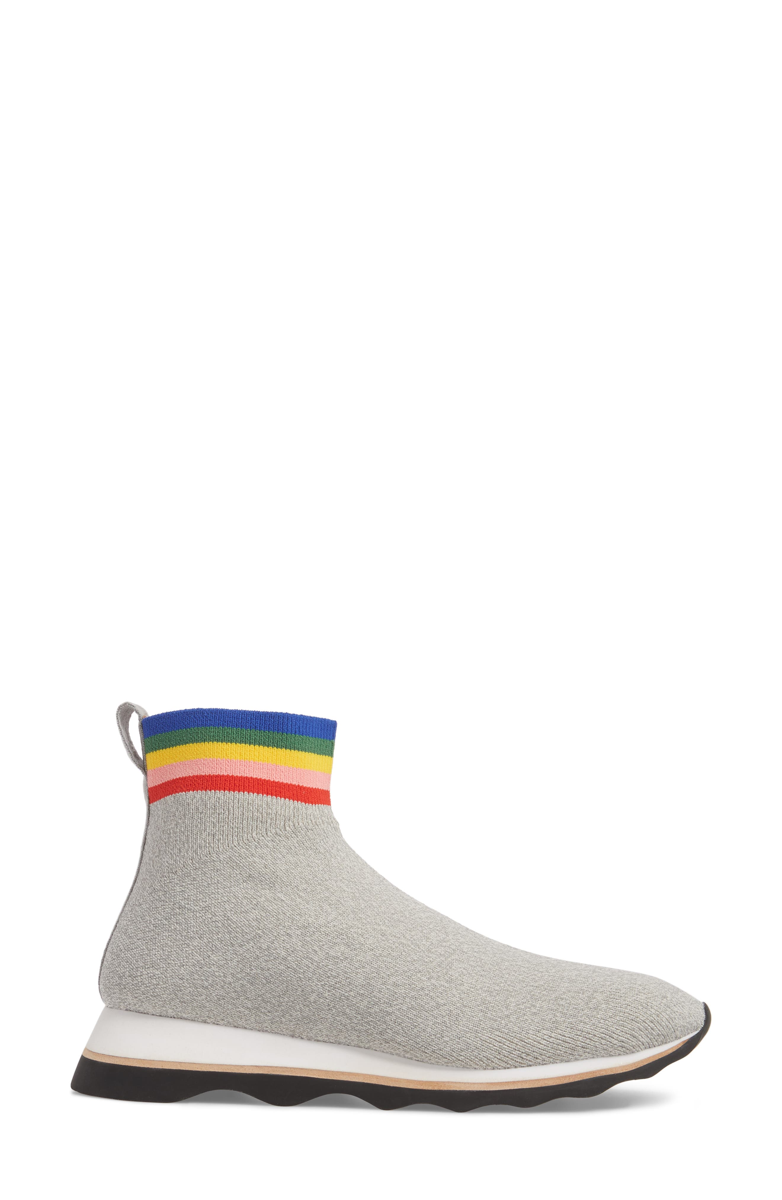 Scout Sock Sneaker,                             Alternate thumbnail 3, color,                             Grey/ Rainbow