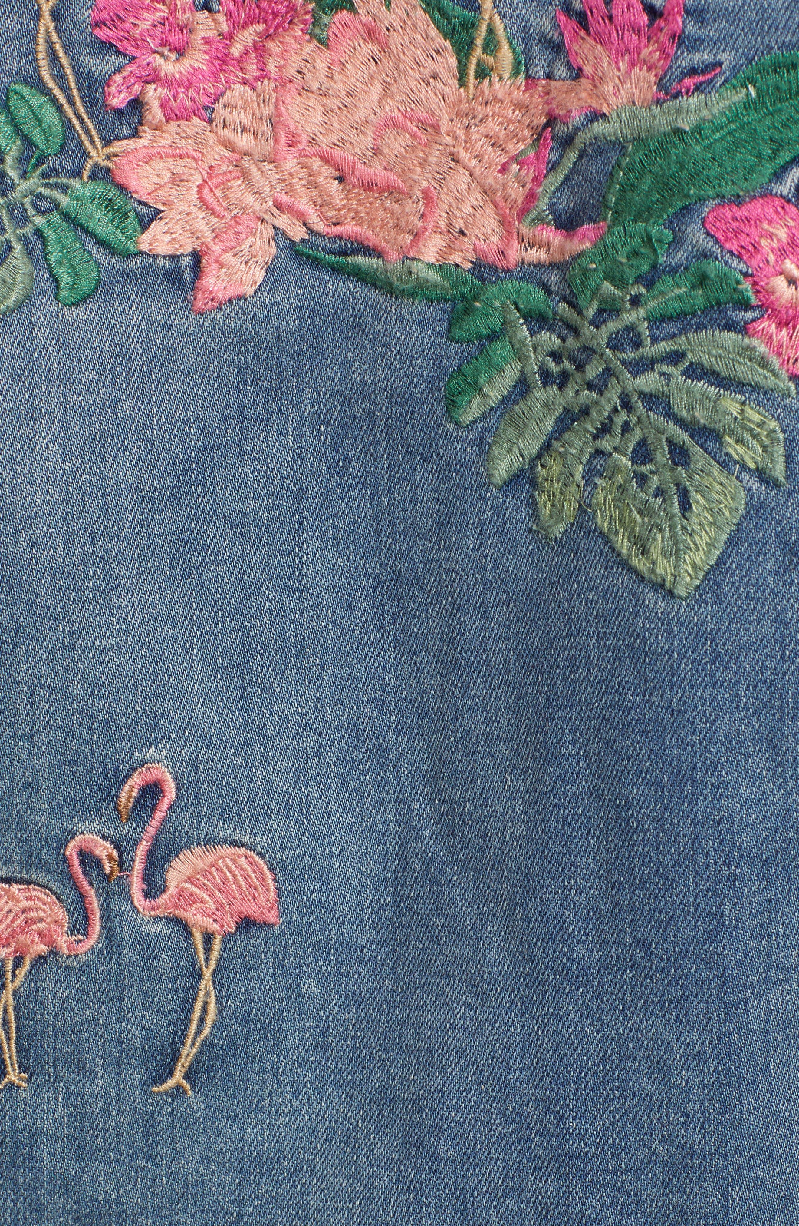 Flamingo Embroidered Denim Jacket,                             Alternate thumbnail 6, color,                             Blue W/ Embroider