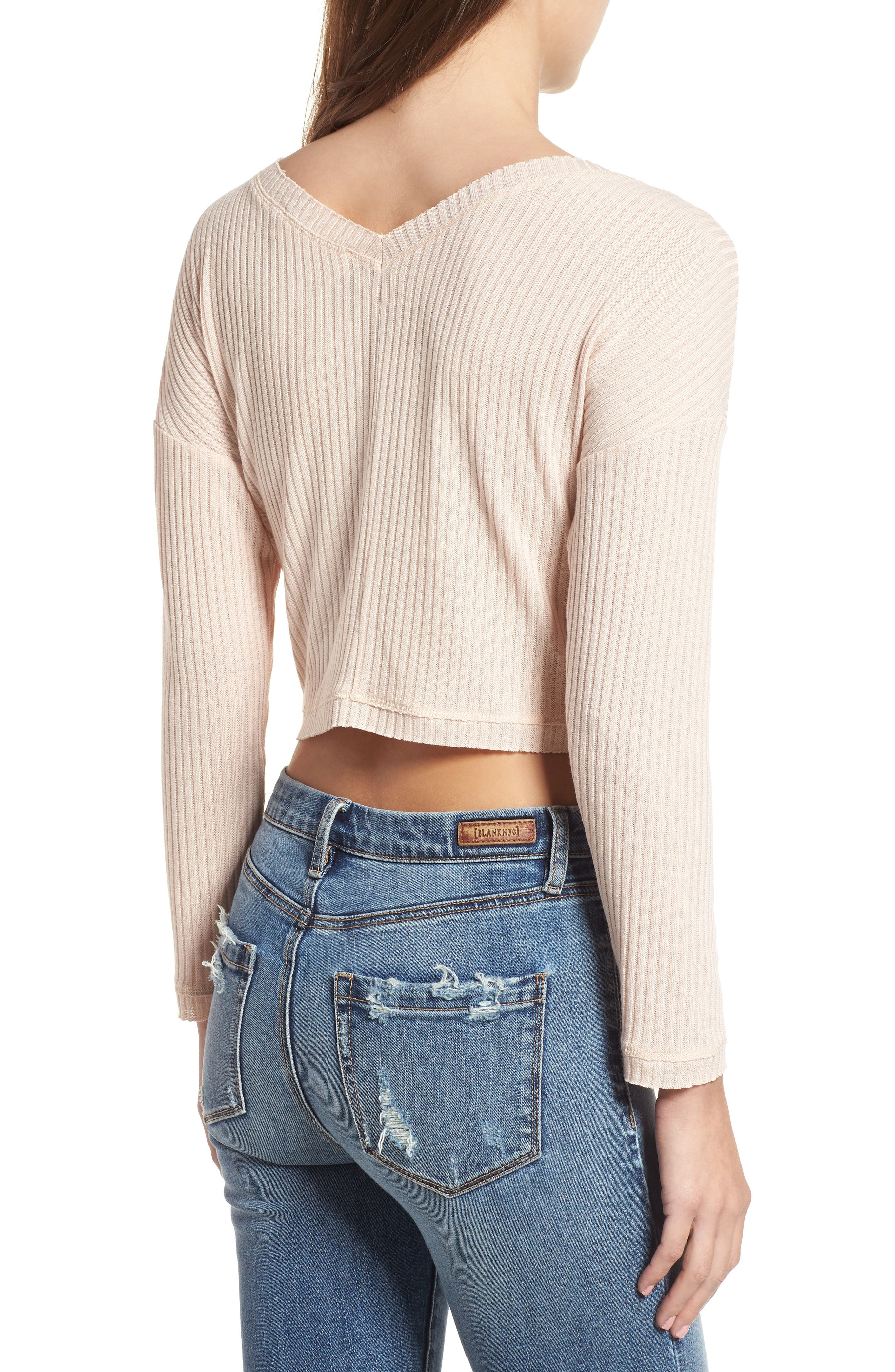 Twist Front Cropped Top,                             Alternate thumbnail 2, color,                             Pale Pink