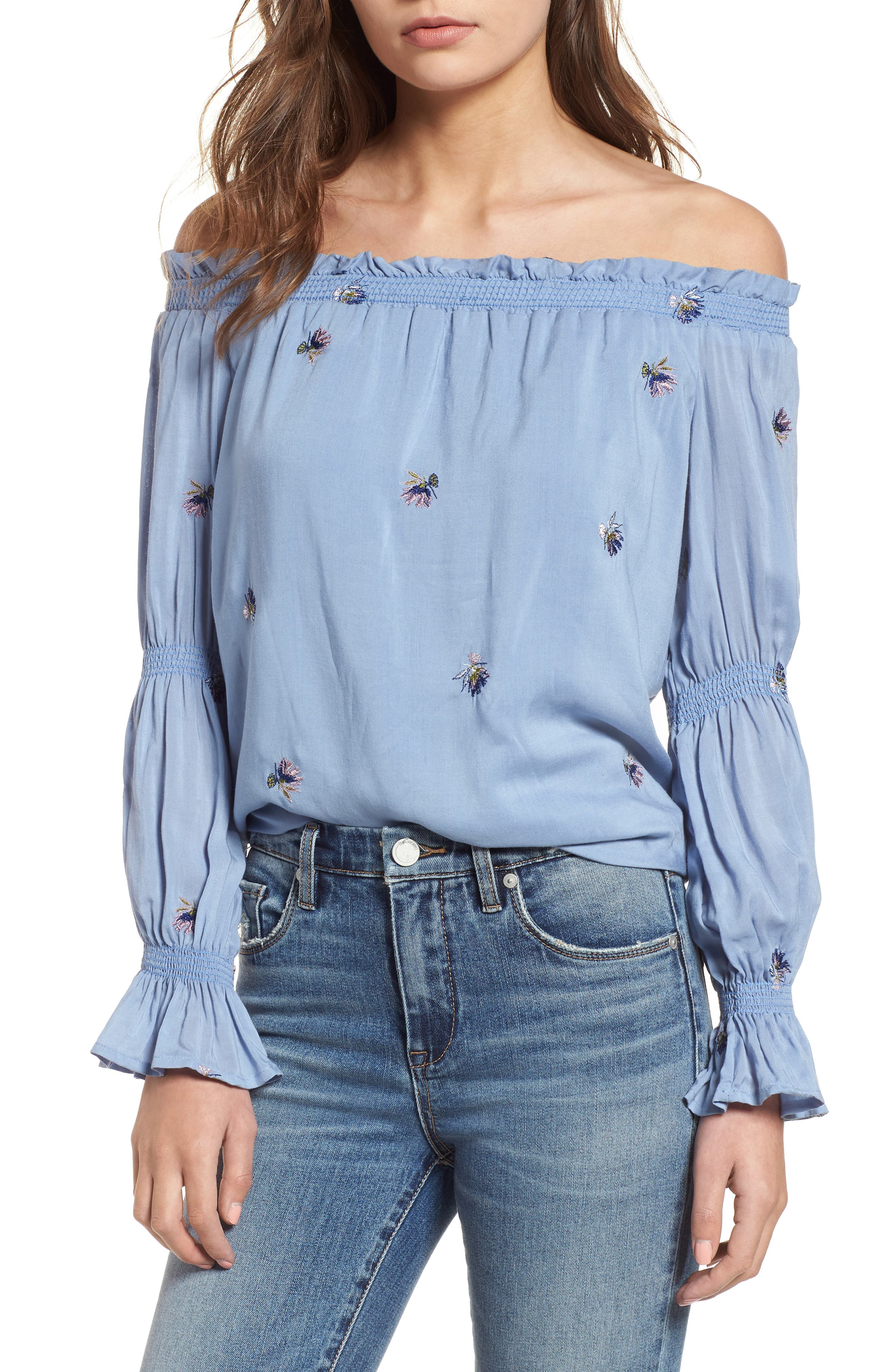 Rimini Off the Shoulder Top,                             Main thumbnail 1, color,                             Chambray Blue Embroidery