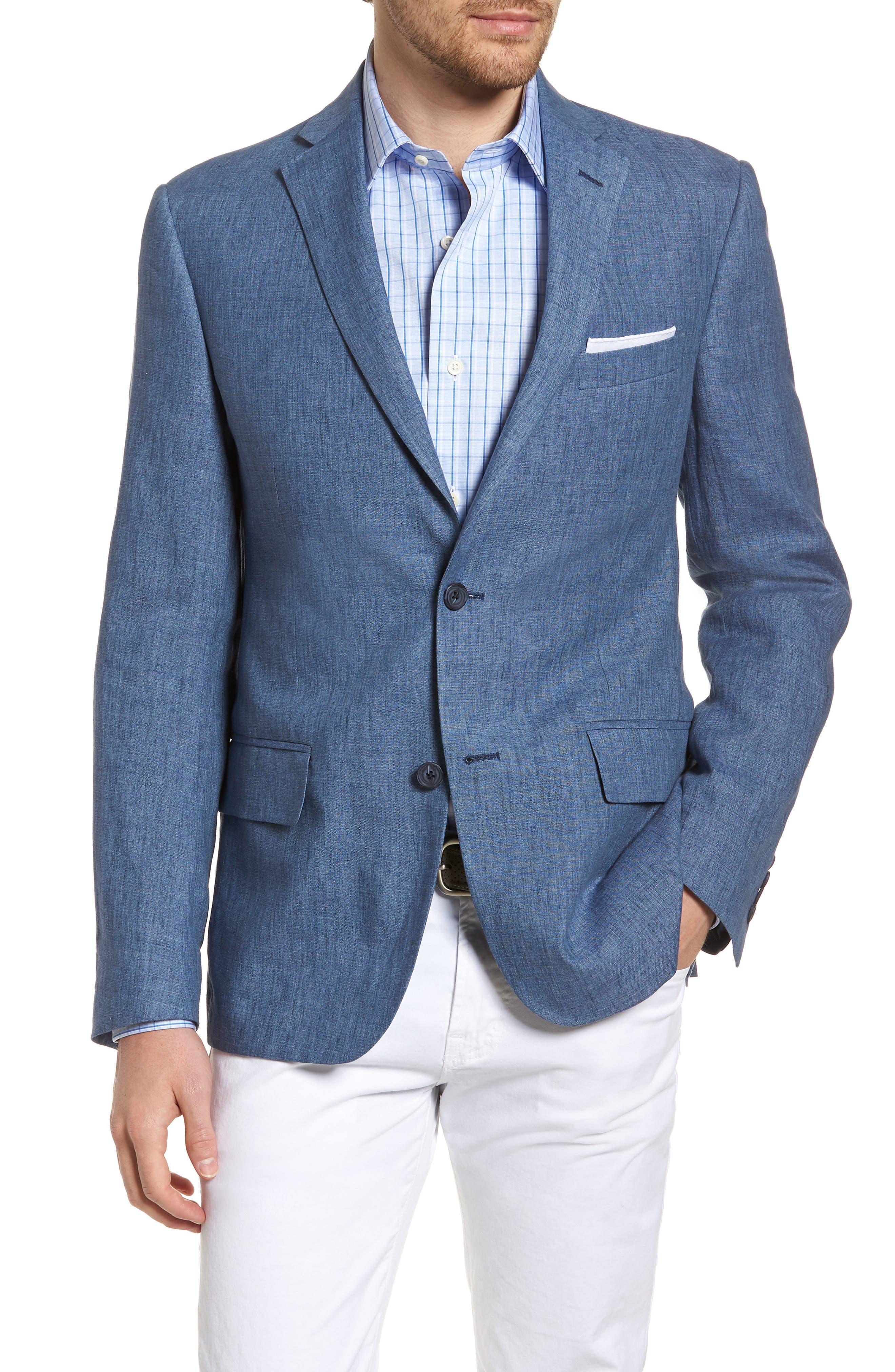 Trim Fit Linen Blazer,                         Main,                         color, Blue Denim