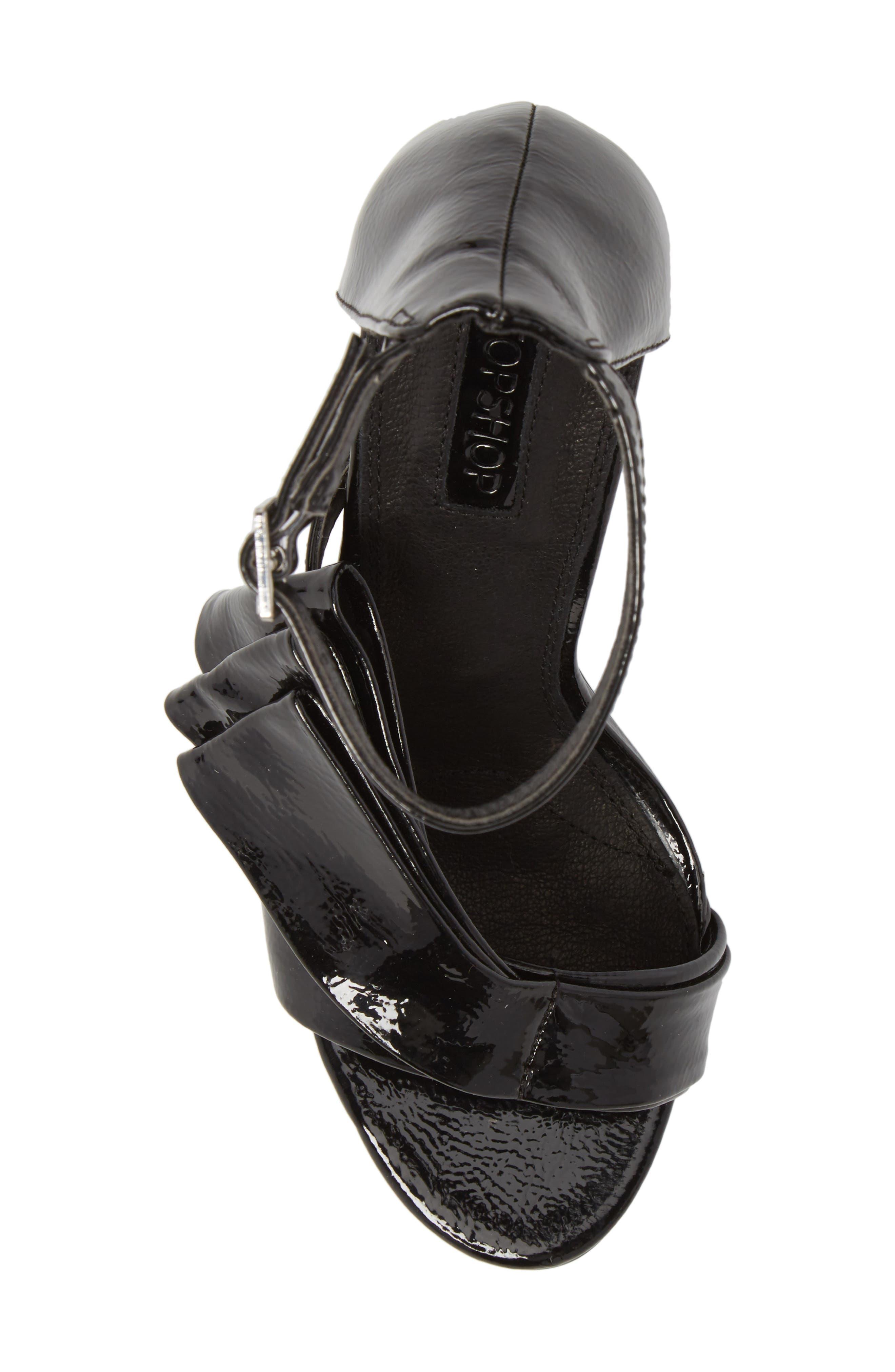 Rhea Fan Sandal,                             Alternate thumbnail 5, color,                             Black Faux Patent