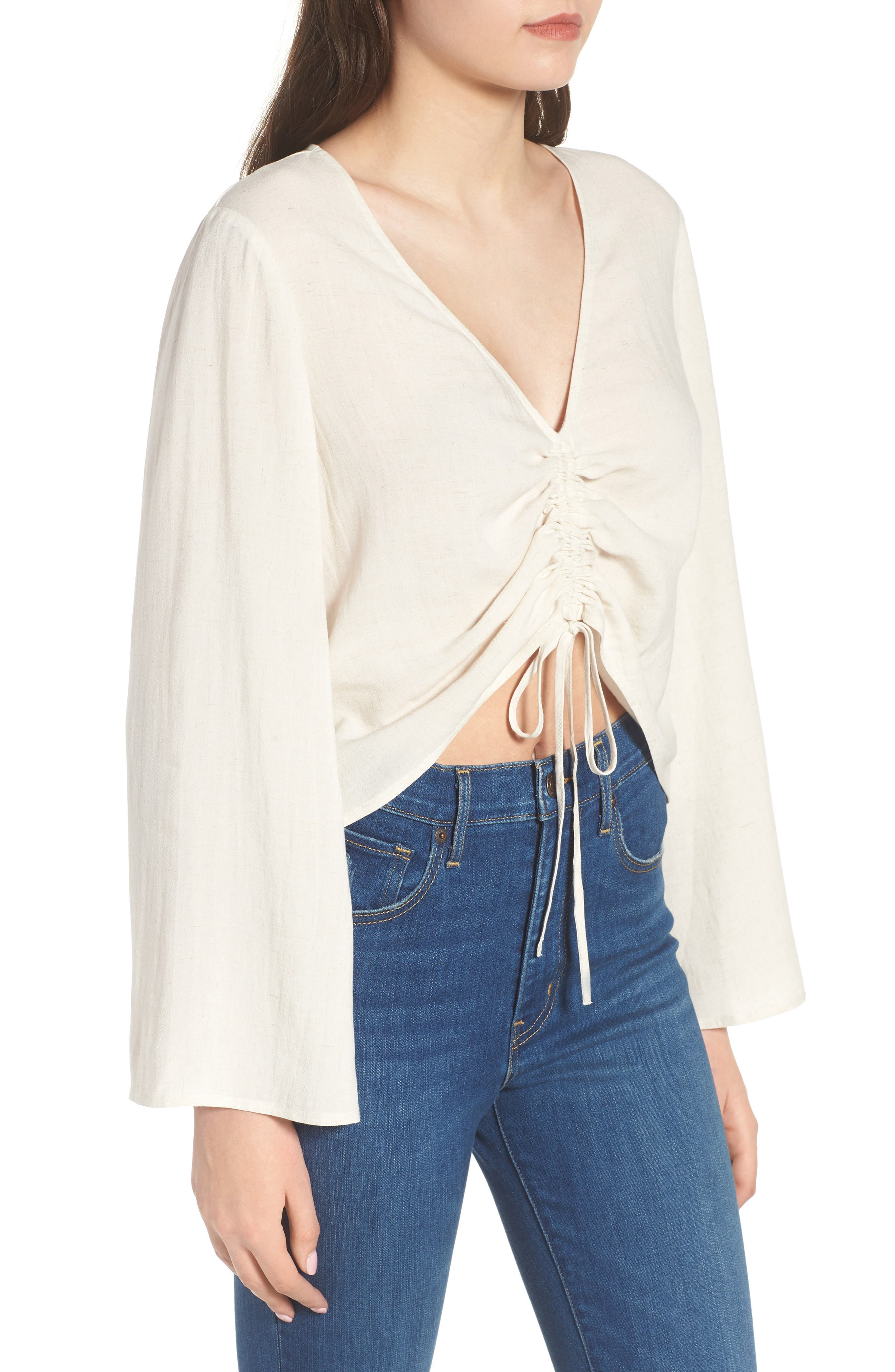 Ruched Front Top,                             Alternate thumbnail 3, color,                             Beige Oatmeal Heather