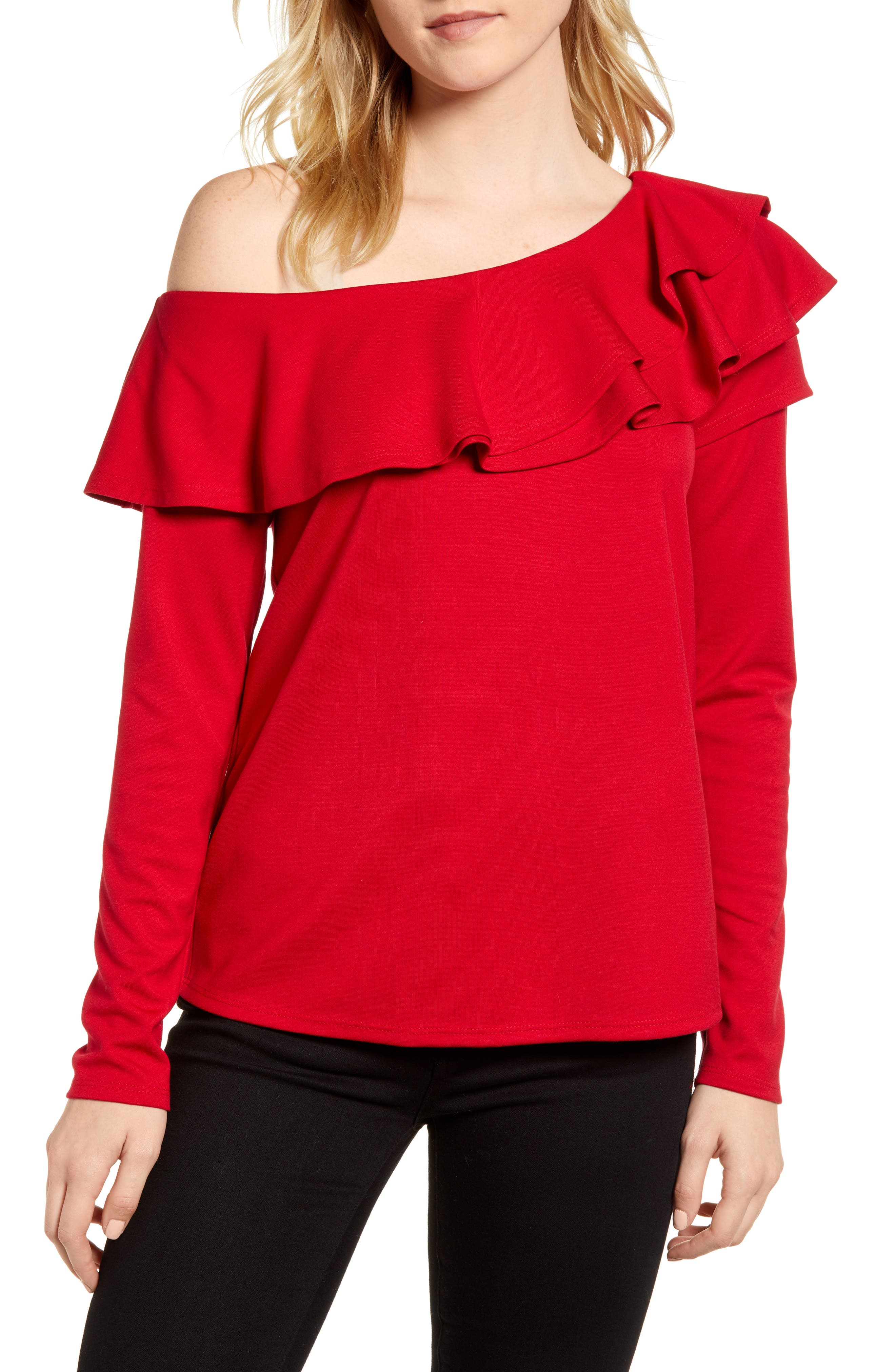 x Living in Yellow Elizabeth Date Night Top,                         Main,                         color, Red