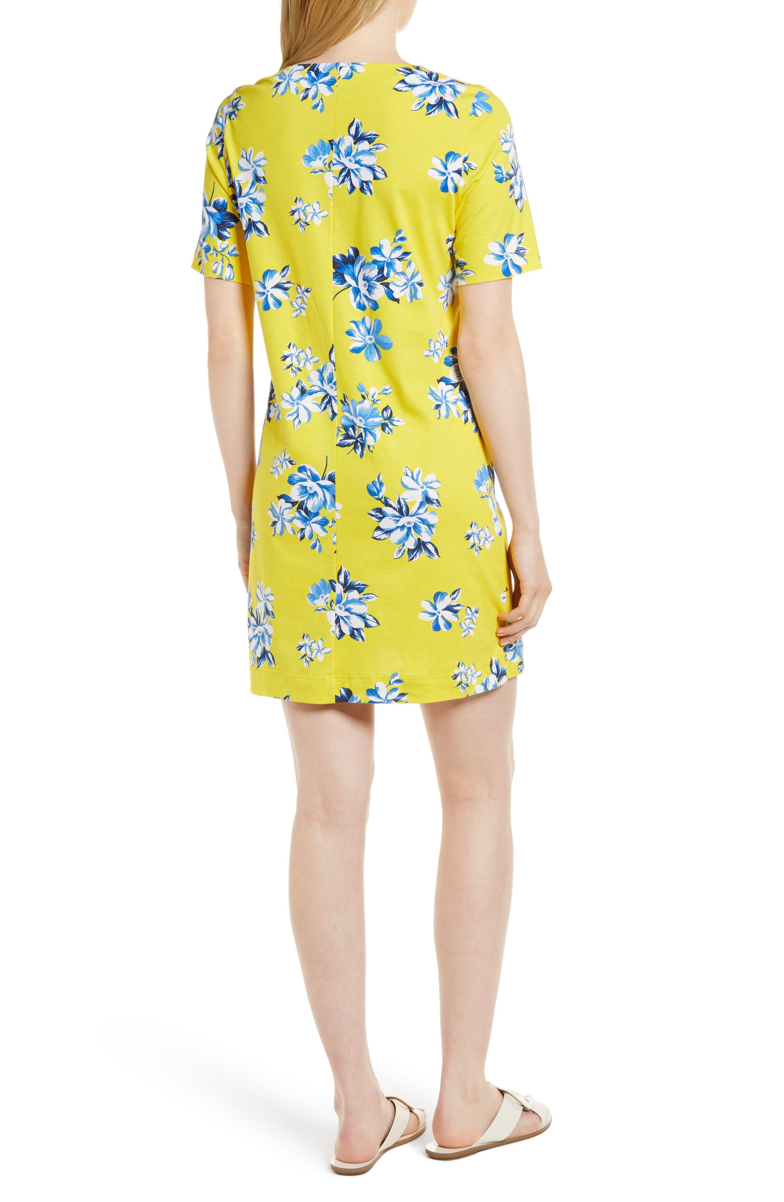 Floral Hillsboro Pima Cotton Shift Dress,                             Alternate thumbnail 2, color,                             Yellow