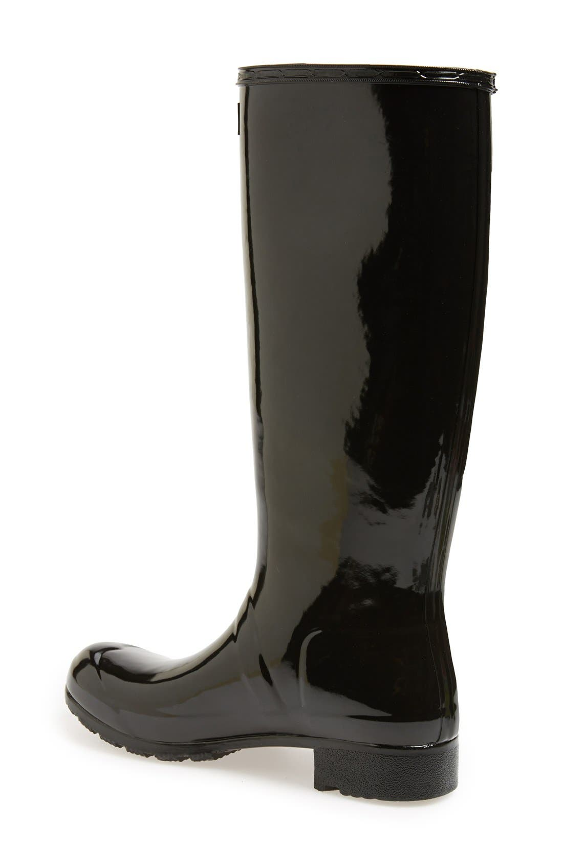 Original Tour Gloss Packable Rain Boot,                             Alternate thumbnail 2, color,                             Black