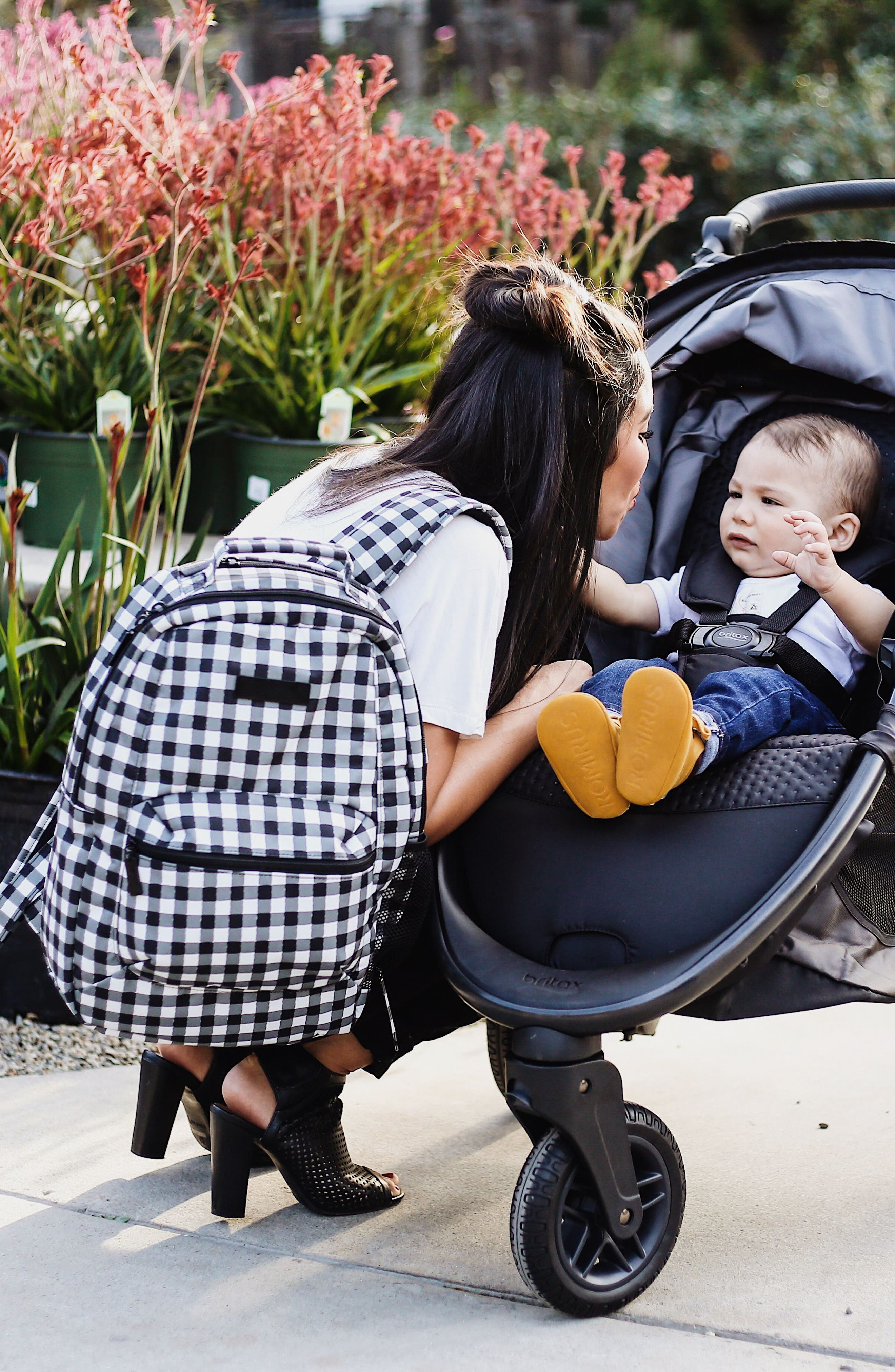 Onyx Be Packed Diaper Backpack,                             Alternate thumbnail 2, color,                             Gingham Style