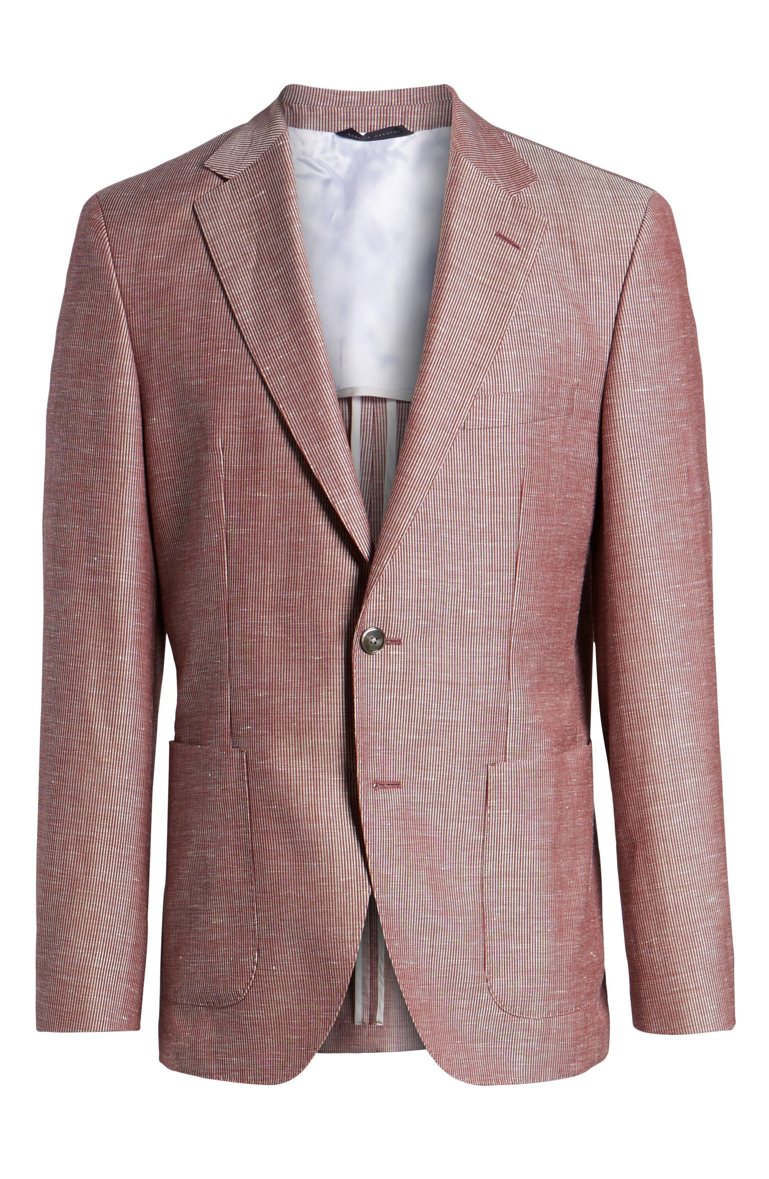 Janson Classic Fit Stripe Wool Blend Sport Coat,                             Alternate thumbnail 6, color,                             Red