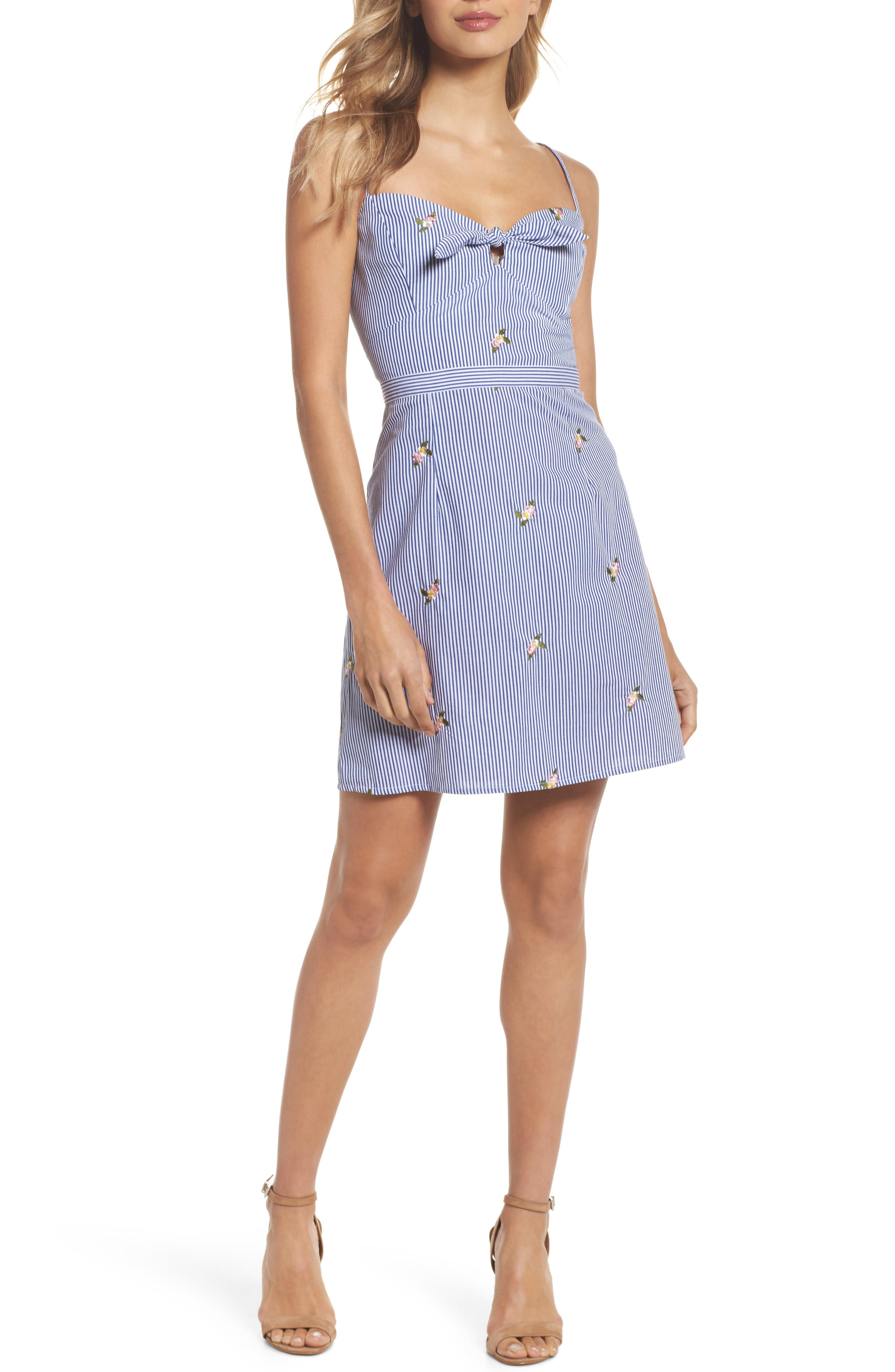 Stripe Bow Front Sundress,                             Main thumbnail 1, color,                             Blue/ White