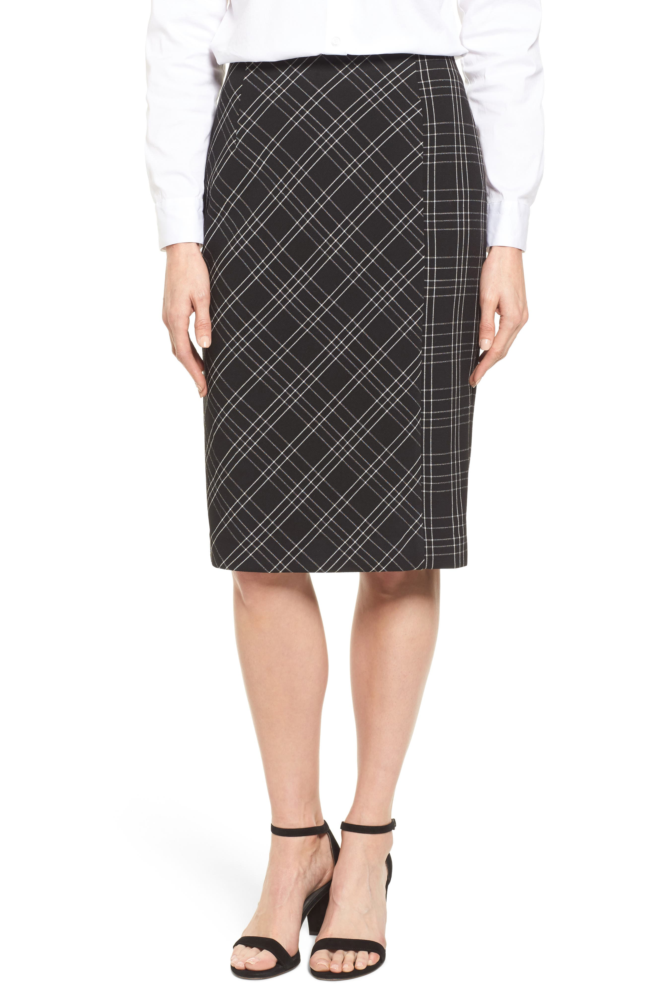 Plaid Pencil Skirt,                         Main,                         color, Black- White Plaid