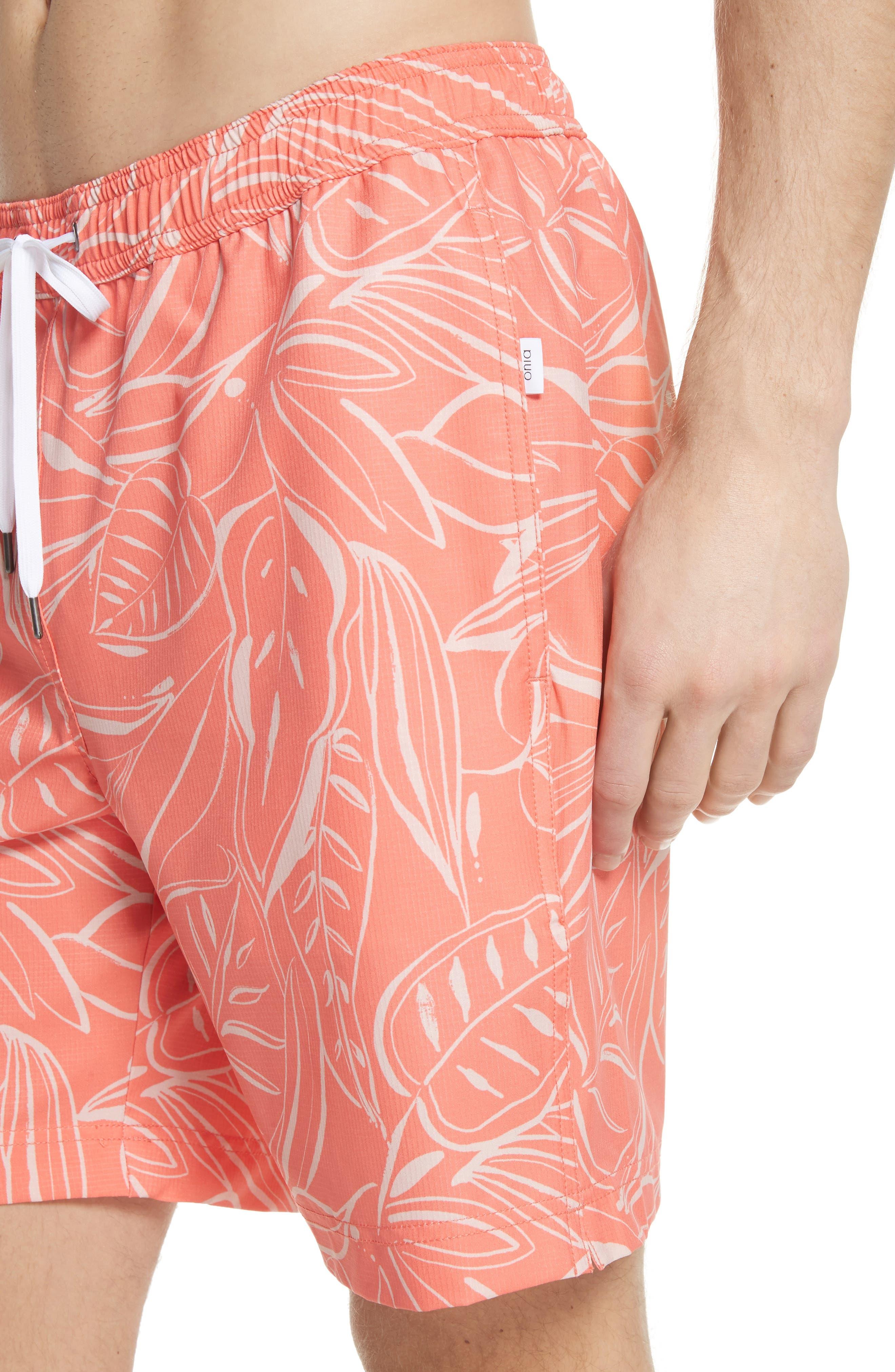 Charles Leaf Print Swim Trunks,                             Alternate thumbnail 4, color,                             Tangerine Coral