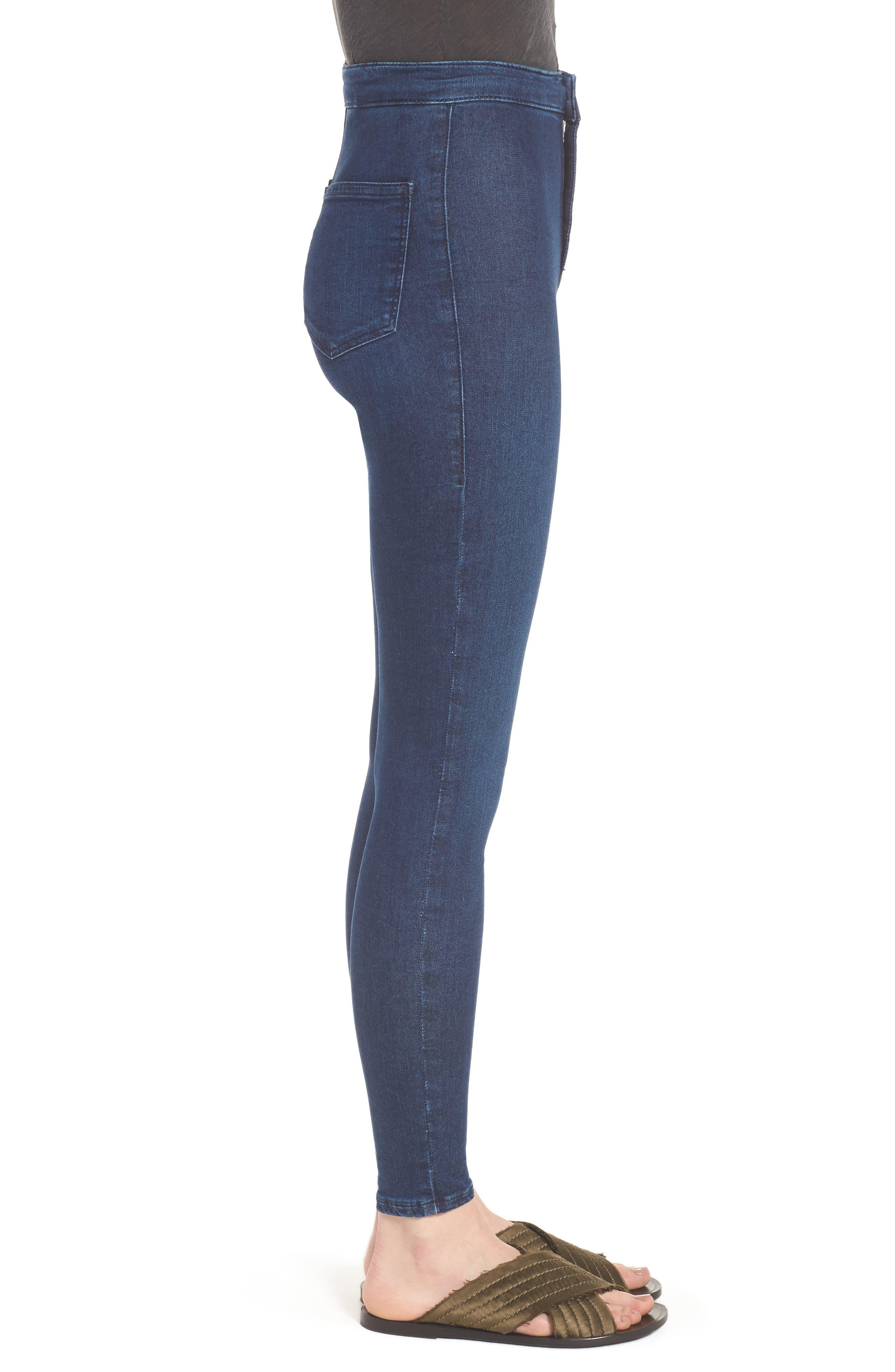 Moto 'Joni' Super Skinny Jeans,                             Alternate thumbnail 3, color,                             Navy Blue