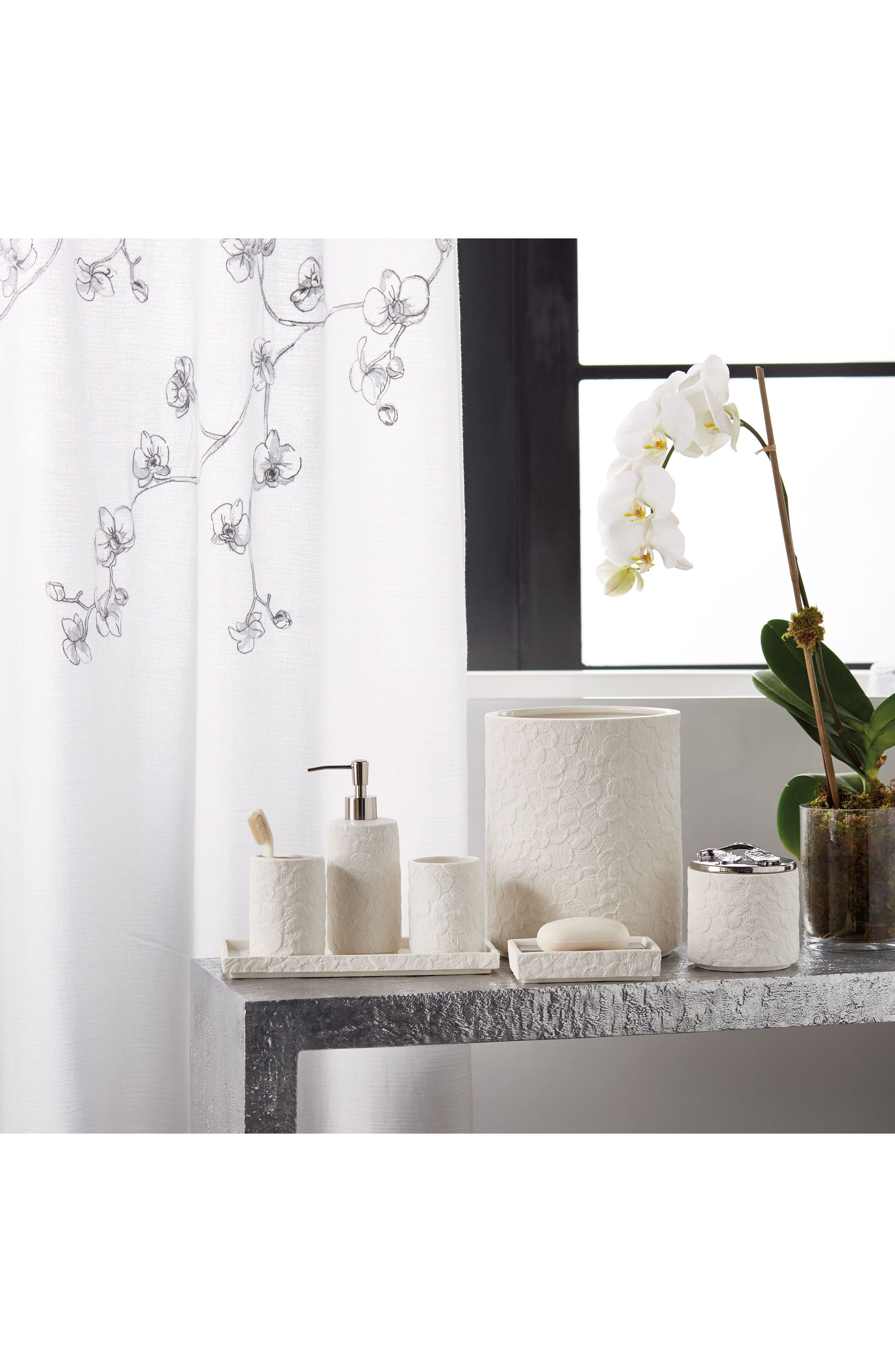 Orchid Shower Curtain,                             Alternate thumbnail 3, color,                             Grey