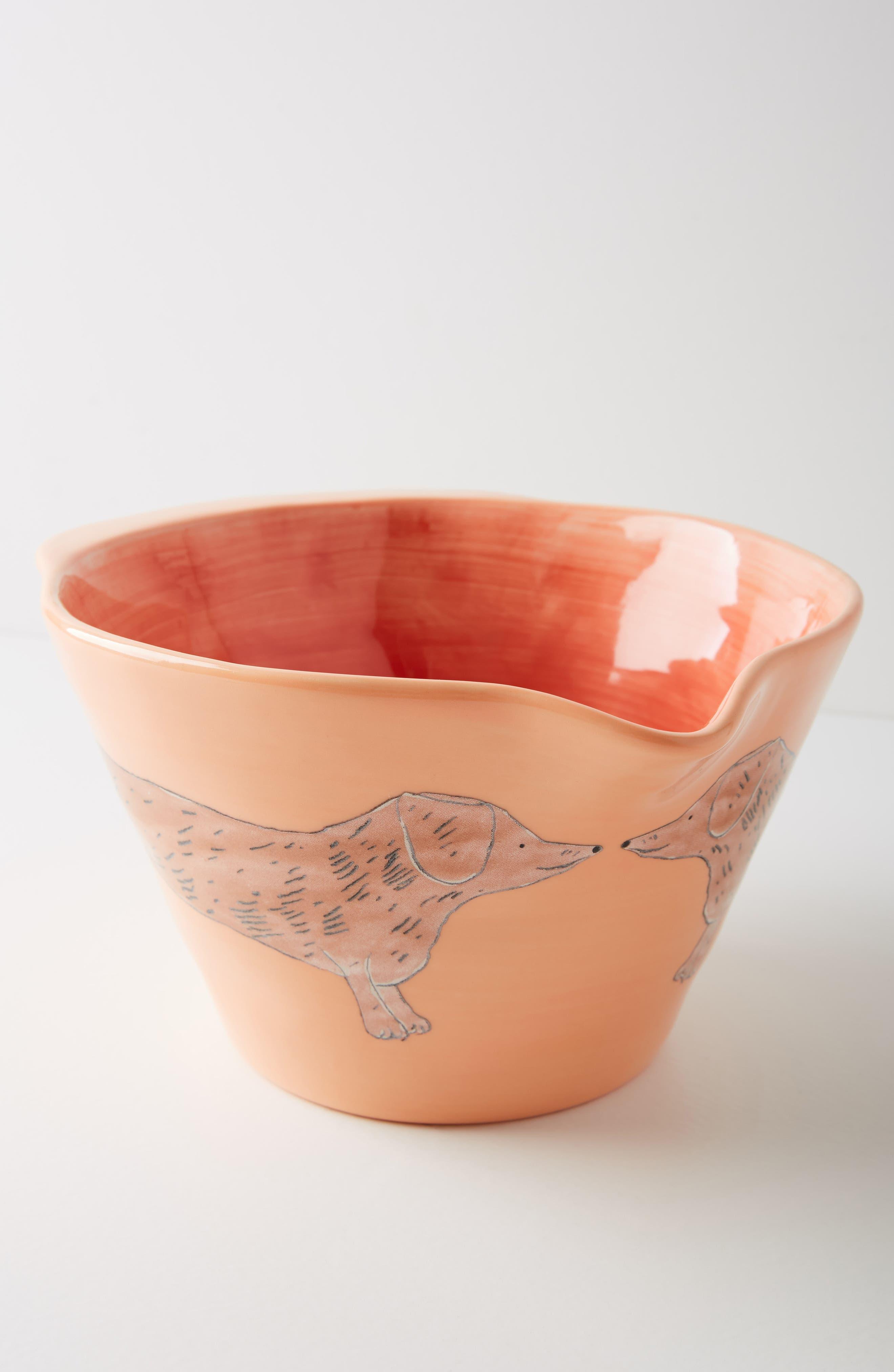 Painted Pup Stoneware Mixing Bowl,                             Main thumbnail 1, color,                             Coral