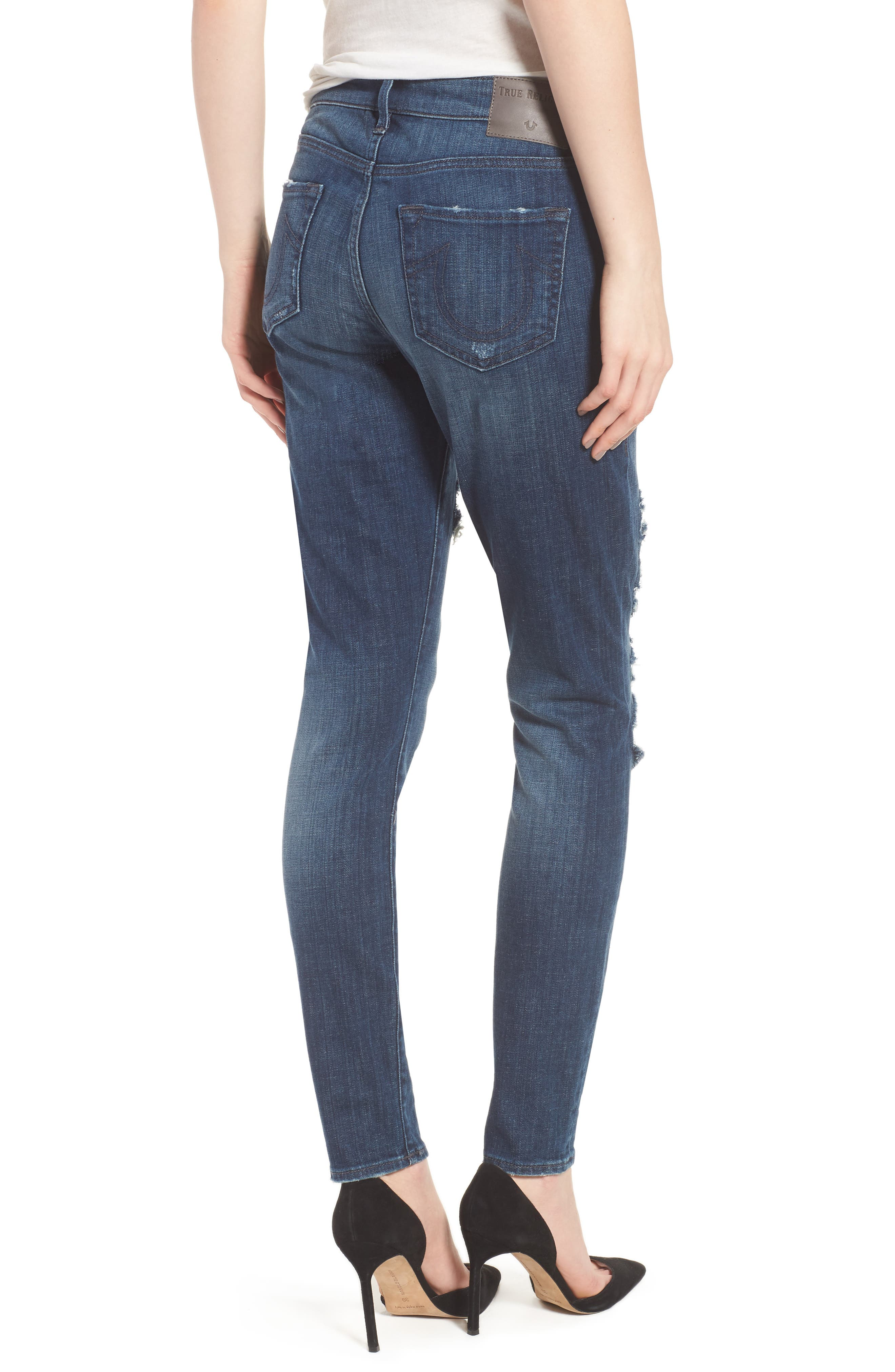 Alternate Image 2  - True Religion Brand Jeans Halle Fishnet Skinny Jeans (Cobalt Crush)