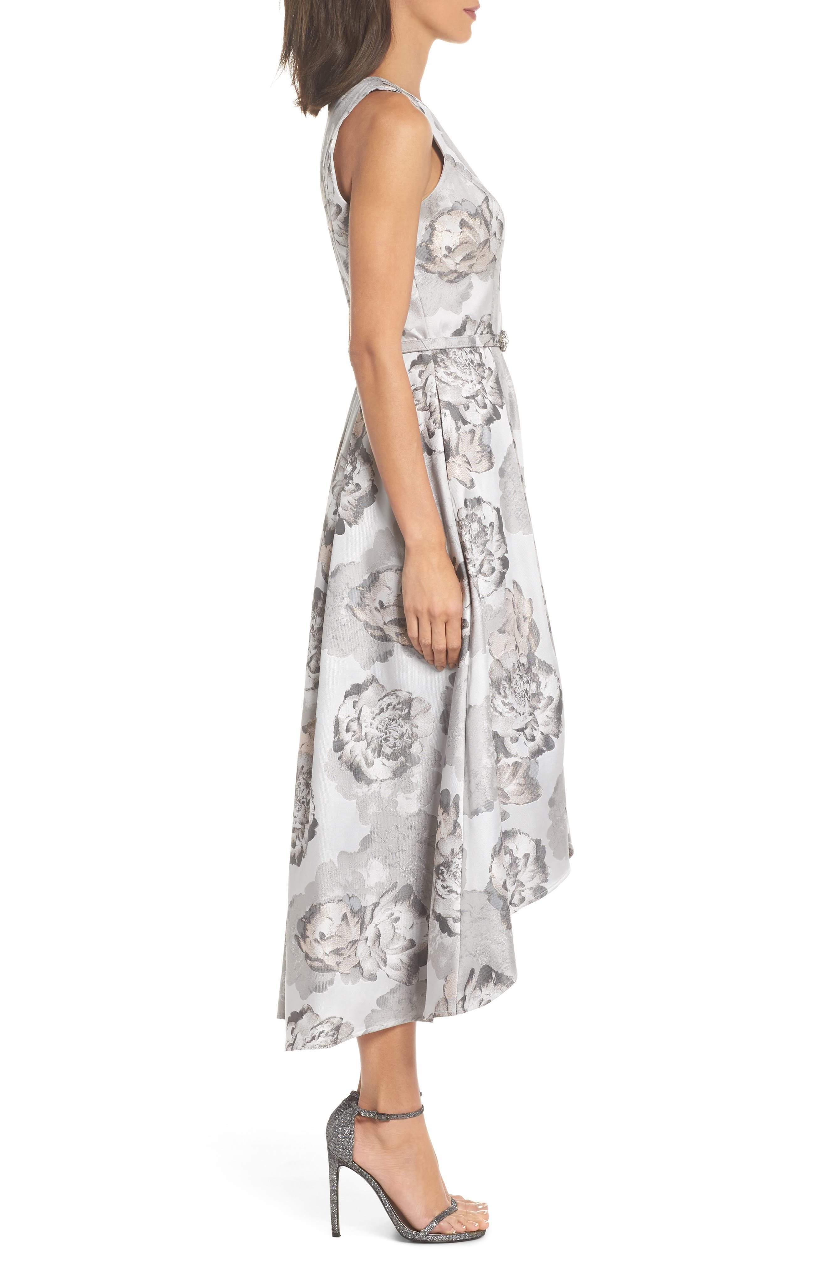 High/Low Gown,                             Alternate thumbnail 3, color,                             Pale Grey