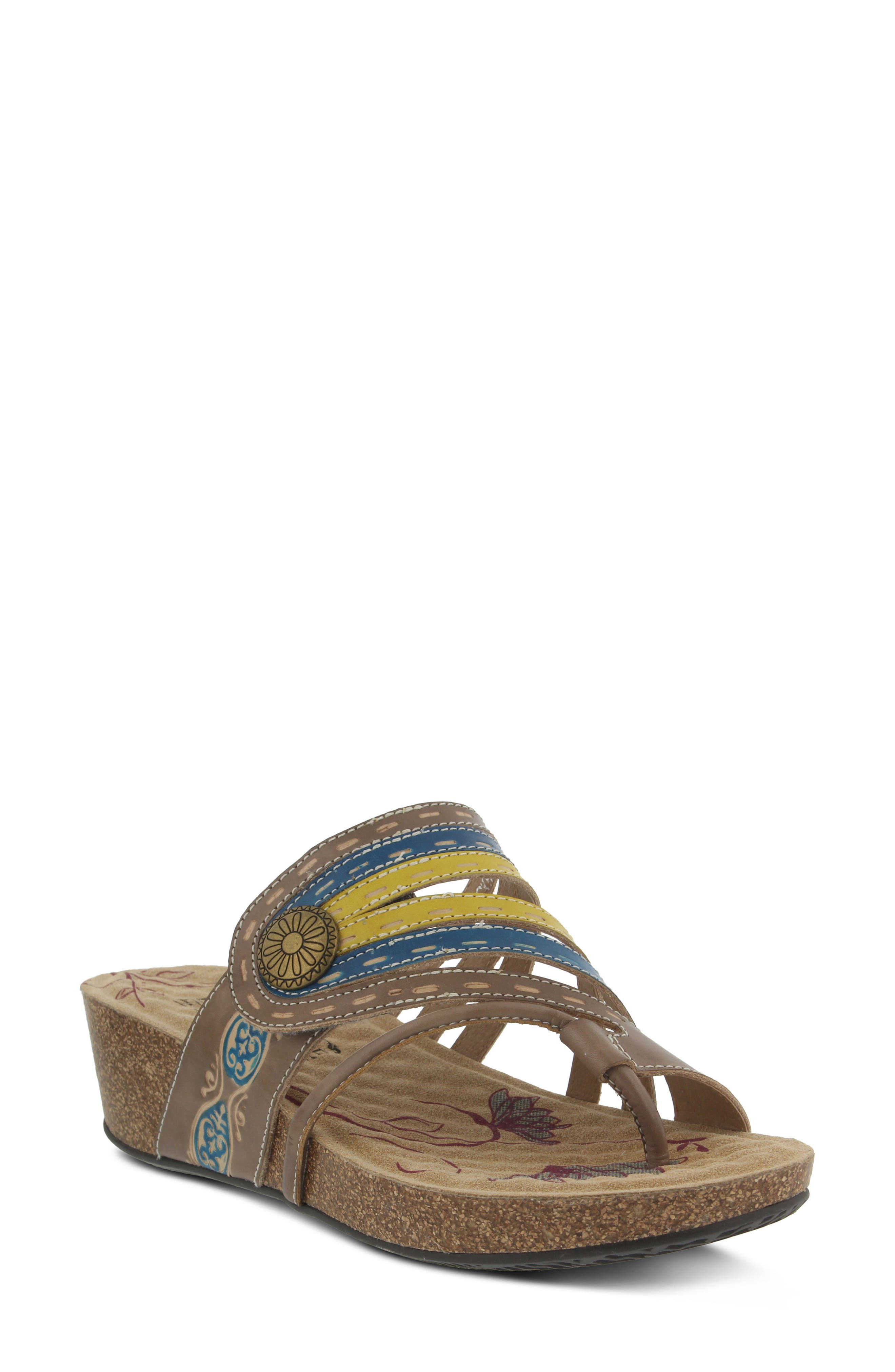 L'Artiste Claudia Wedge Sandal,                             Main thumbnail 1, color,                             Taupe Leather