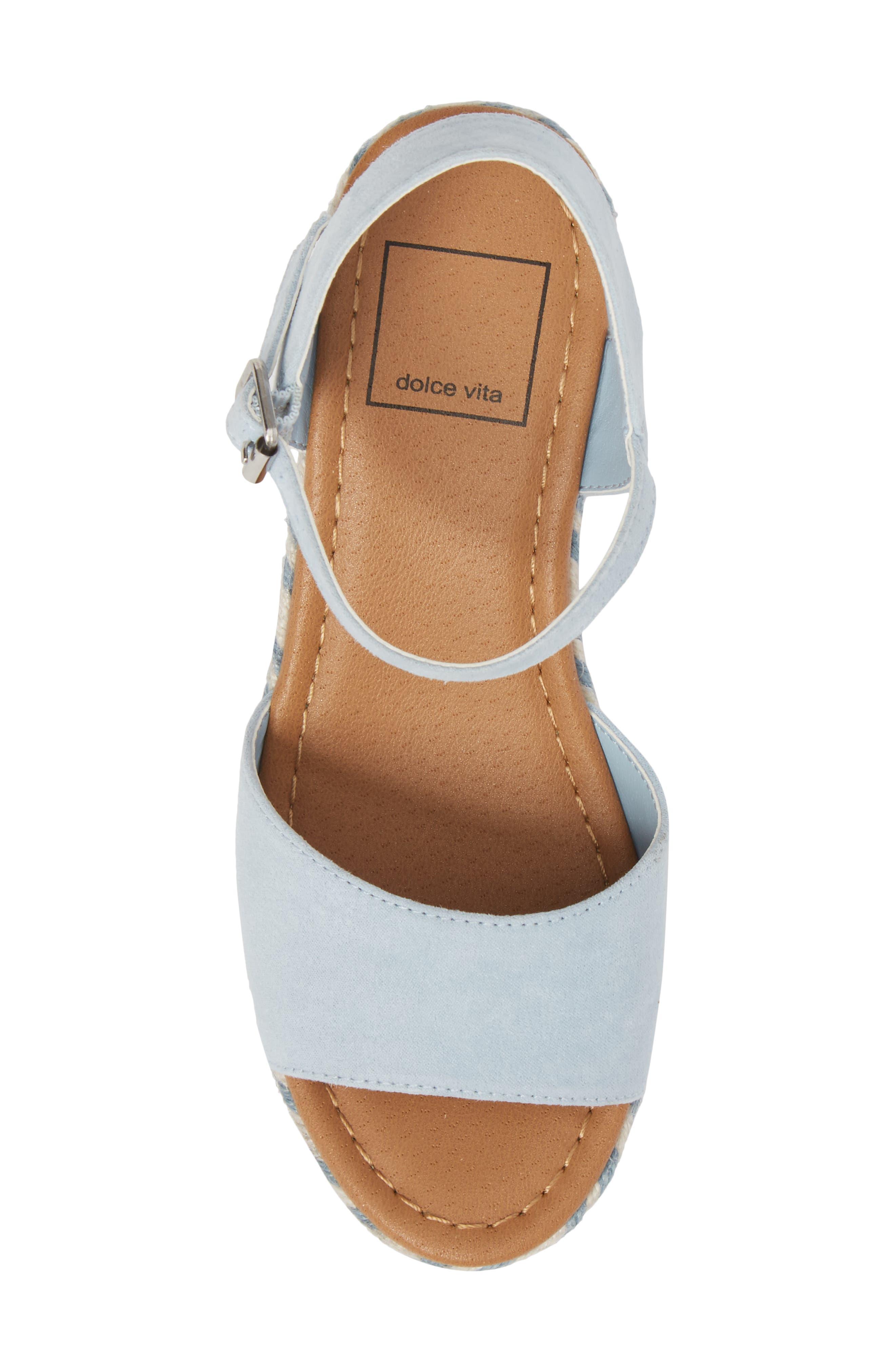 Wendy Espadrille Wedge Sandal,                             Alternate thumbnail 5, color,                             Light Blue