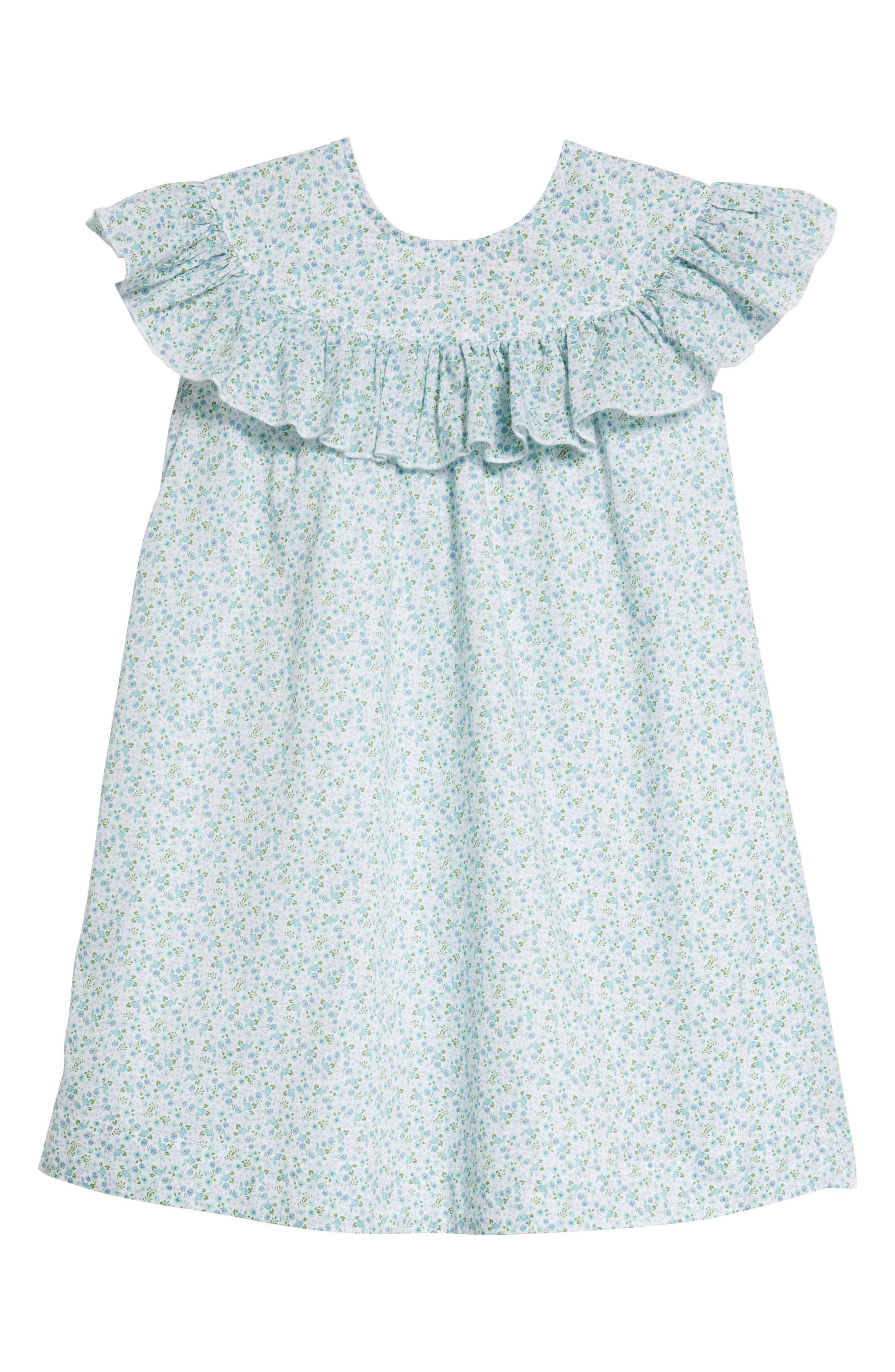 Ruffle Dress,                         Main,                         color, White- Blue Tropic Ditsy